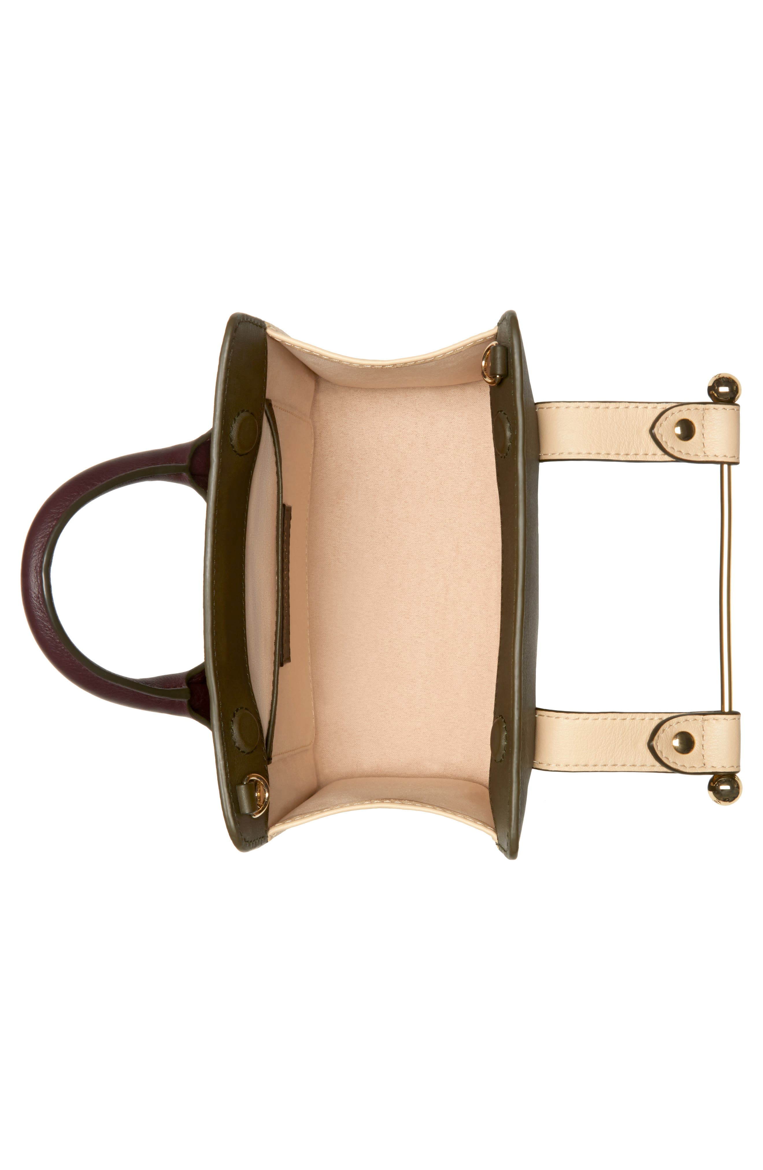 STRATHBERRY, Nano Tricolor Leather Satchel, Alternate thumbnail 3, color, FOREST/ SAND/ BURGUNDY