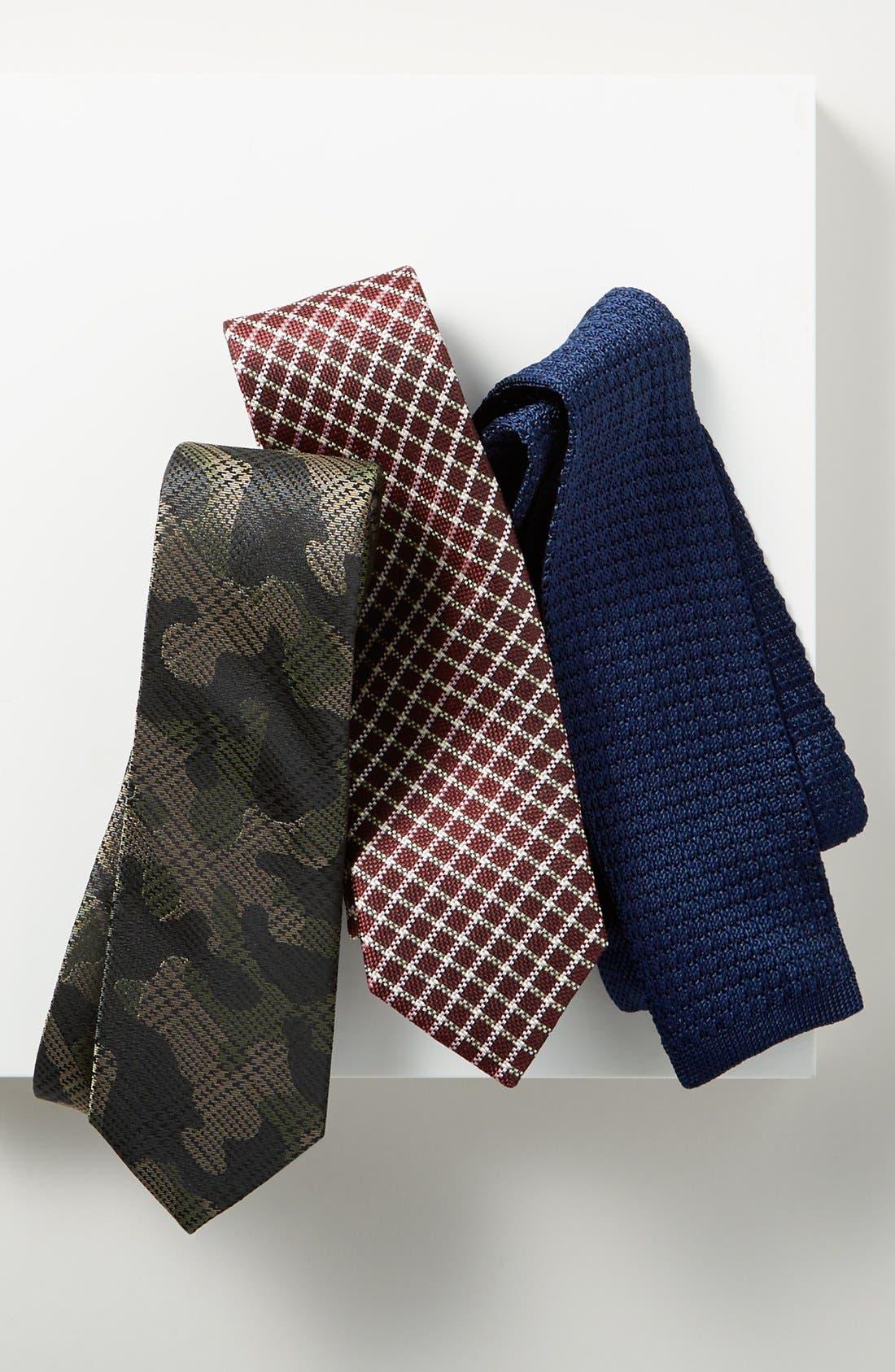 THE TIE BAR, Knit Silk Tie, Alternate thumbnail 3, color, NAVY
