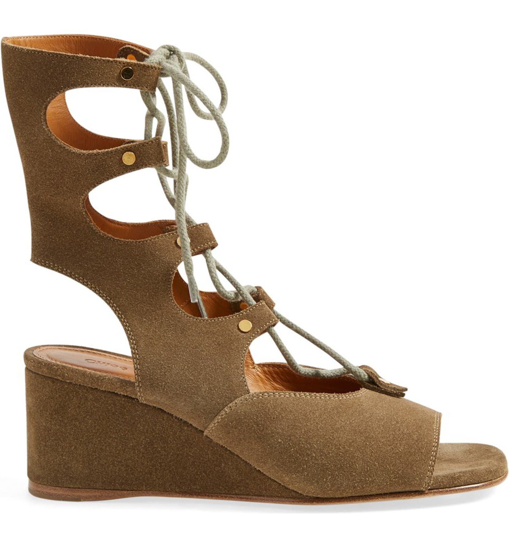 59f1dc89d06 Chloé  Foster  Suede Wedge Gladiator Sandal (Women)