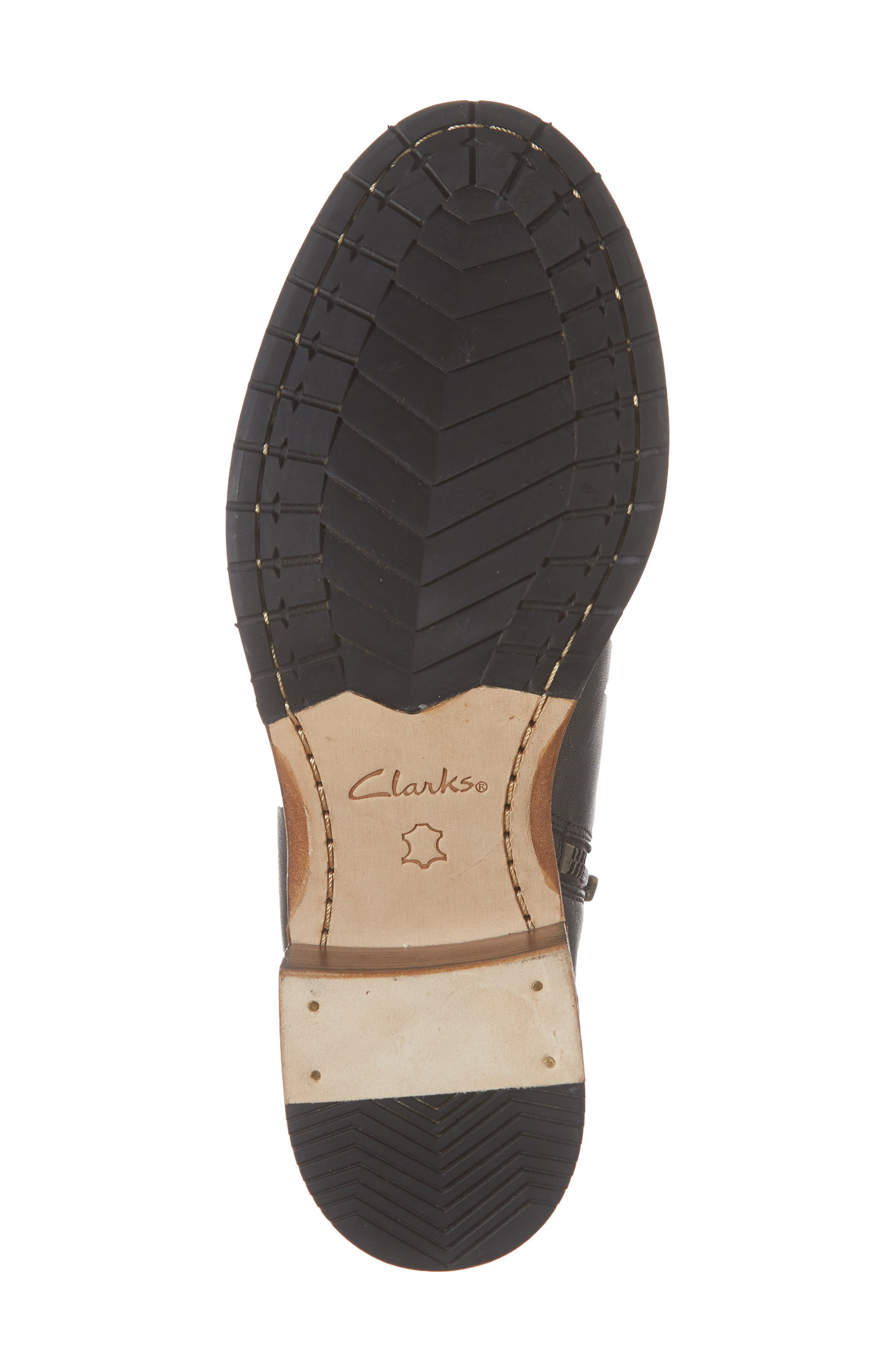 CLARKS<SUP>®</SUP>, Clarkdale Jax Bootie, Alternate thumbnail 6, color, BLACK LEATHER