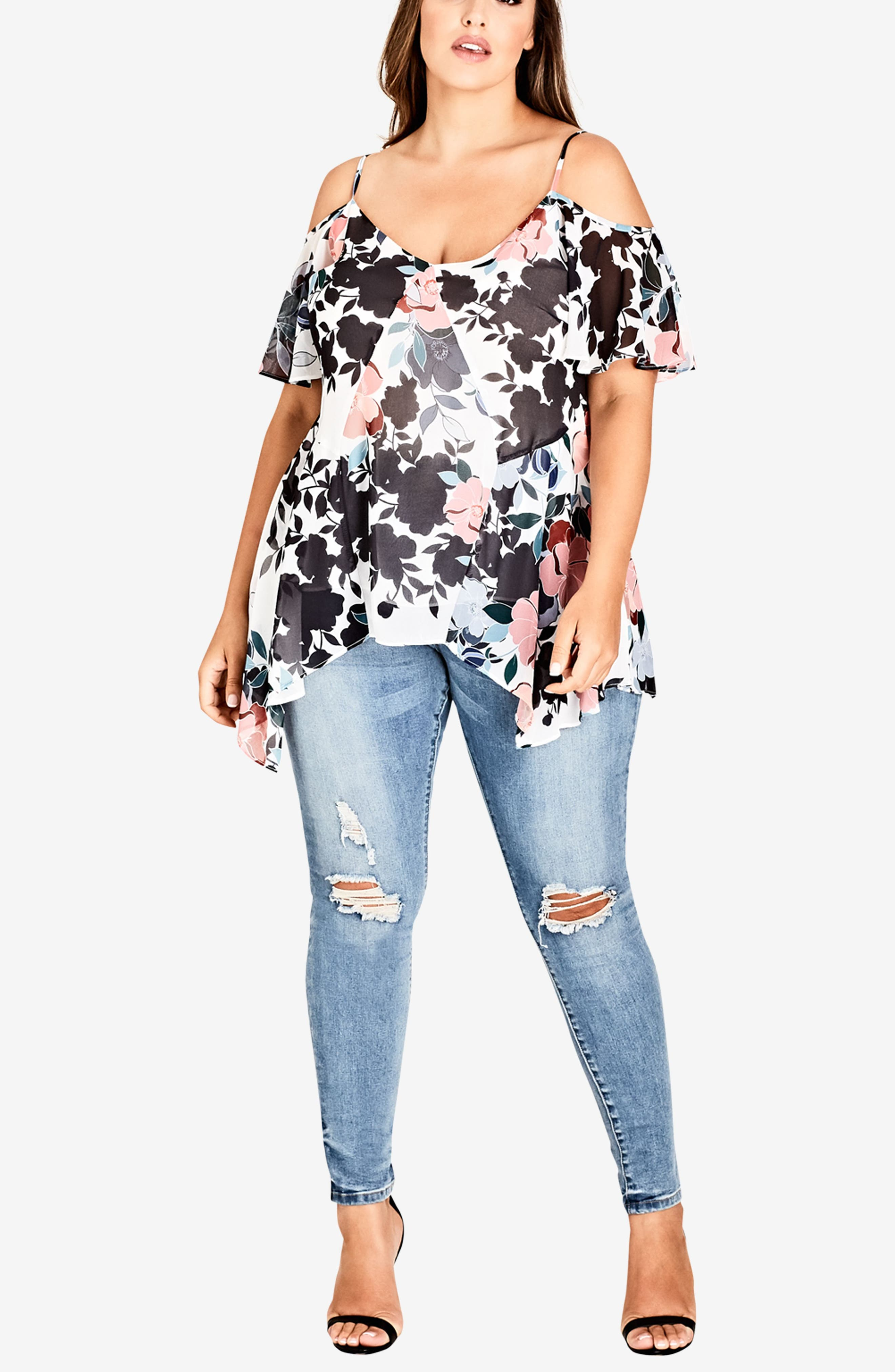 CITY CHIC, Holiday Floral Cold Shoulder Top, Alternate thumbnail 5, color, HOLIDAY FLORAL