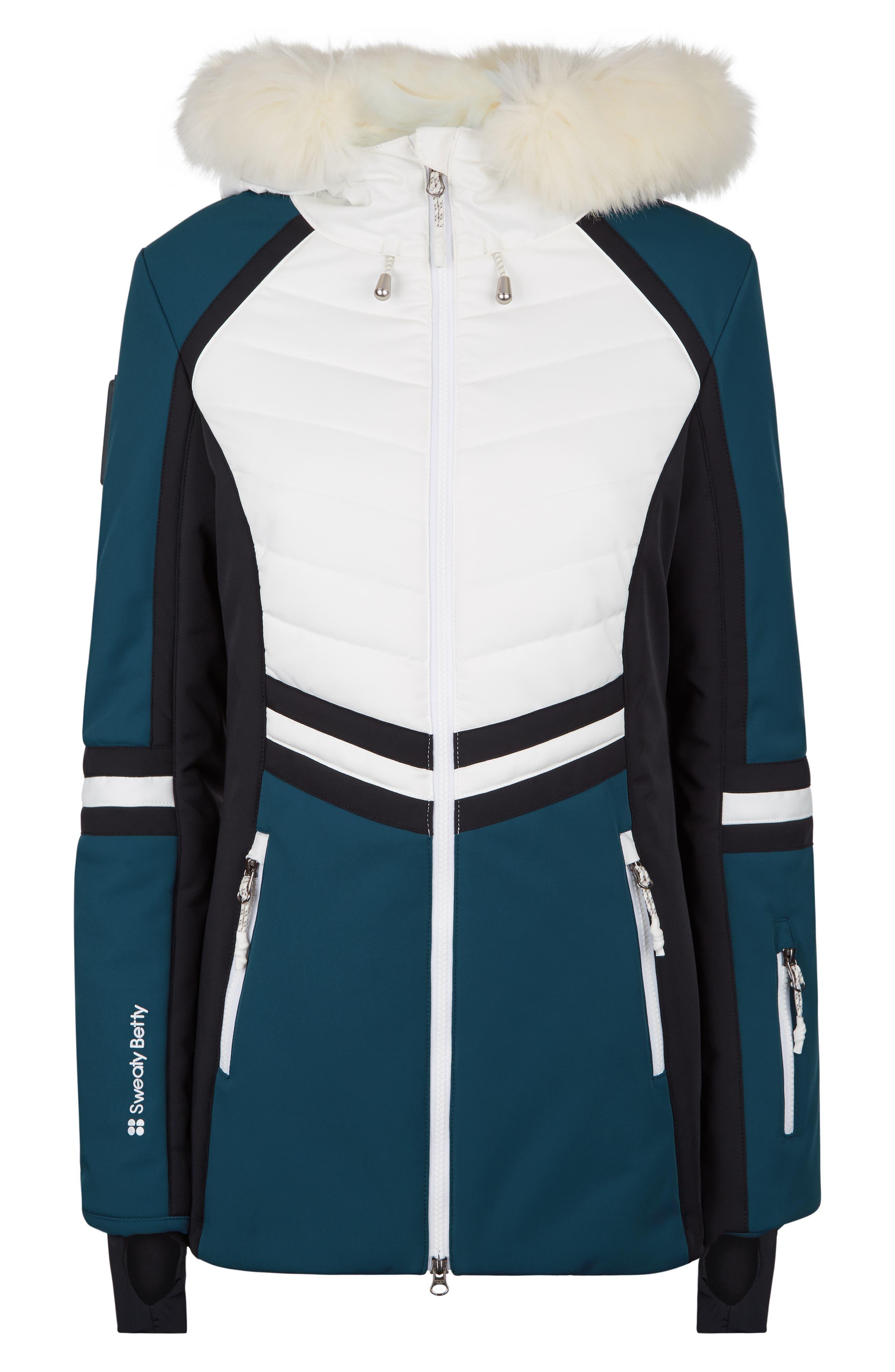 SWEATY BETTY, Method Hybrid Waterproof Ski Jacket with Faux Fur, Alternate thumbnail 6, color, BEETLE BLUE COLOUR BLOCK