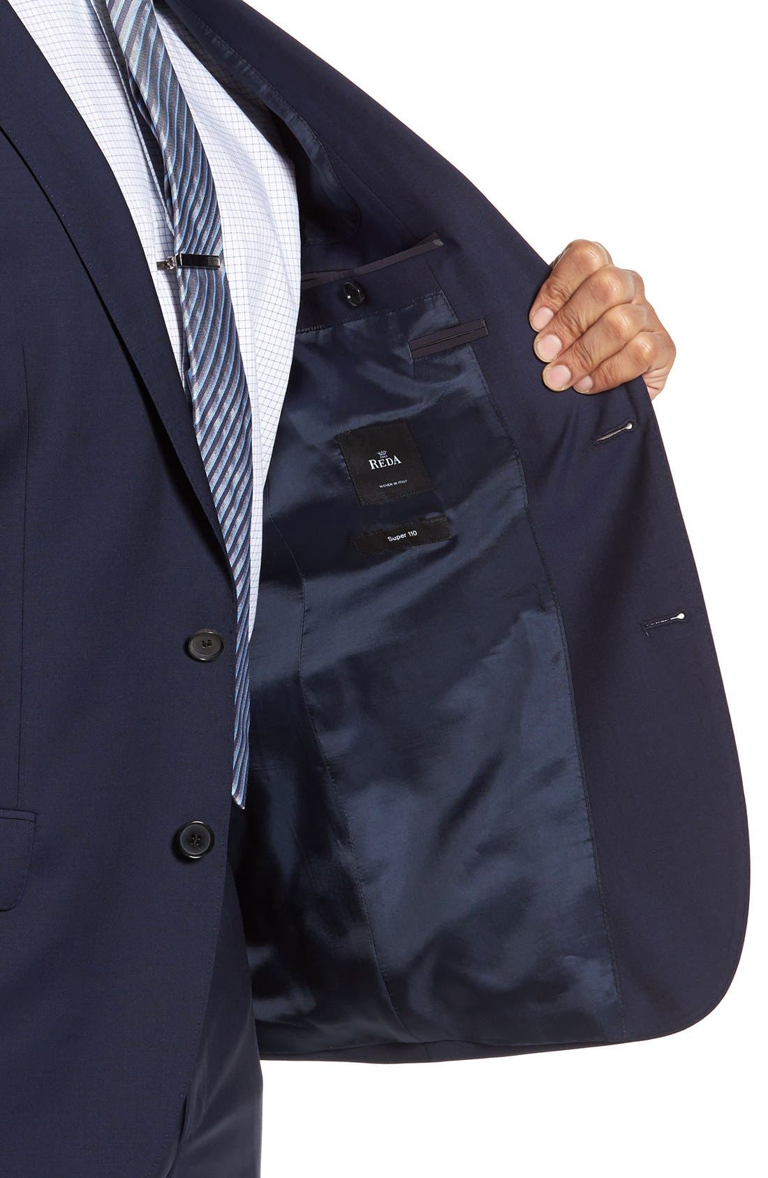 BOSS, Huge/Genius Trim Fit Navy Wool Suit, Alternate thumbnail 5, color, 410