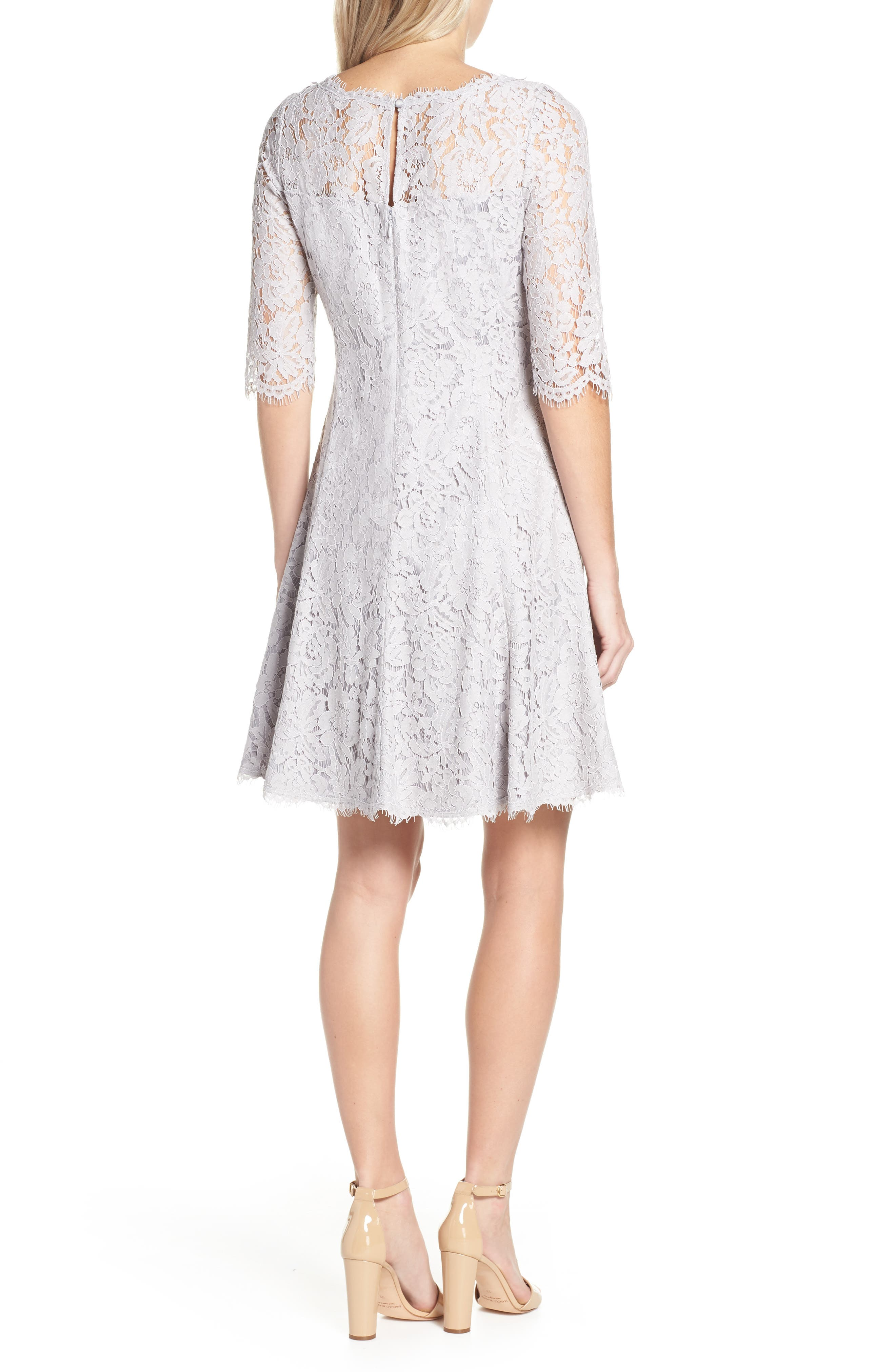 ELIZA J, Lace Fit & Flare Cocktail Dress, Alternate thumbnail 2, color, GREY
