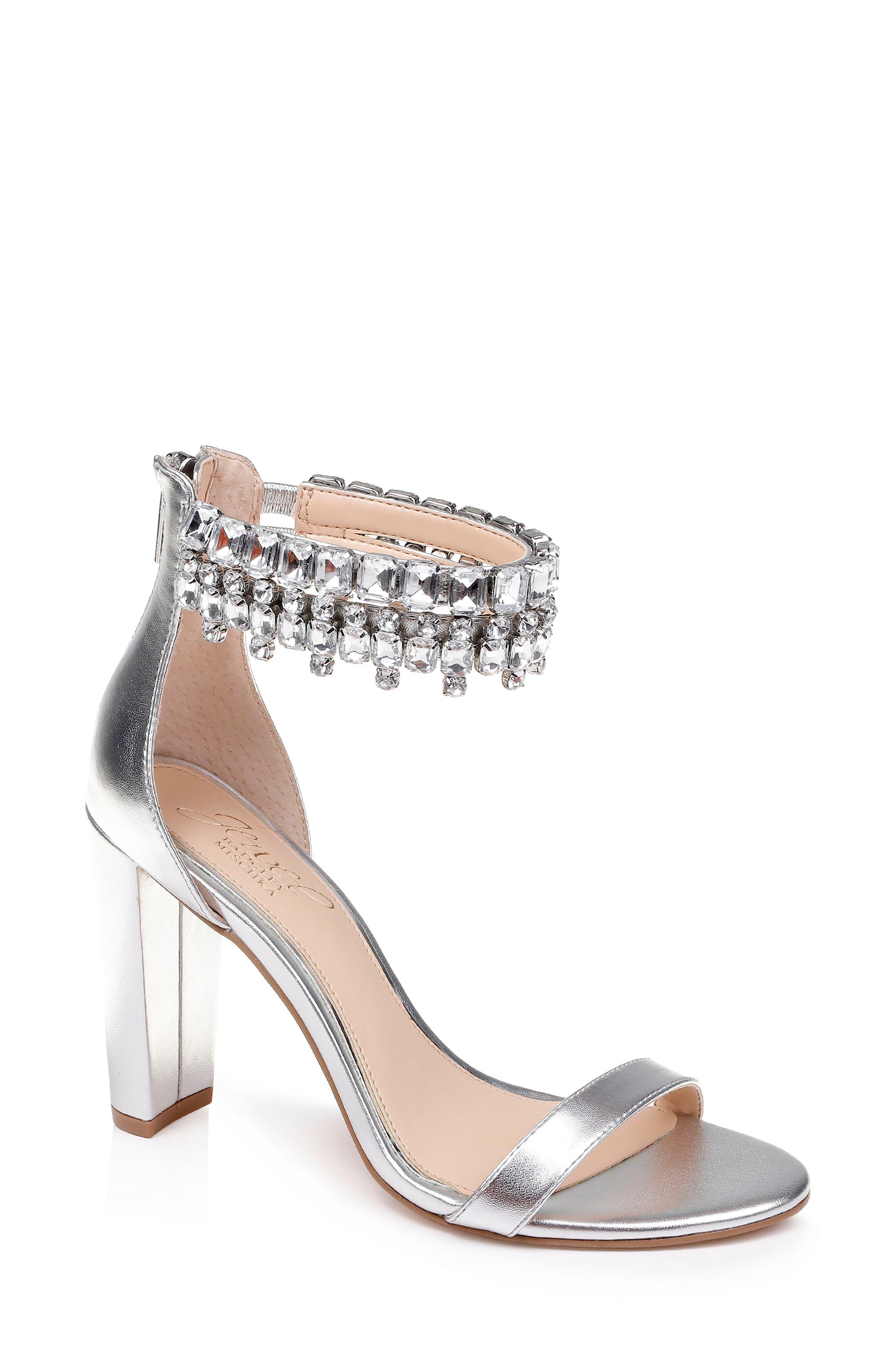 Jewel Badgley Mischka Dancer Ankle Strap Sandal, Metallic