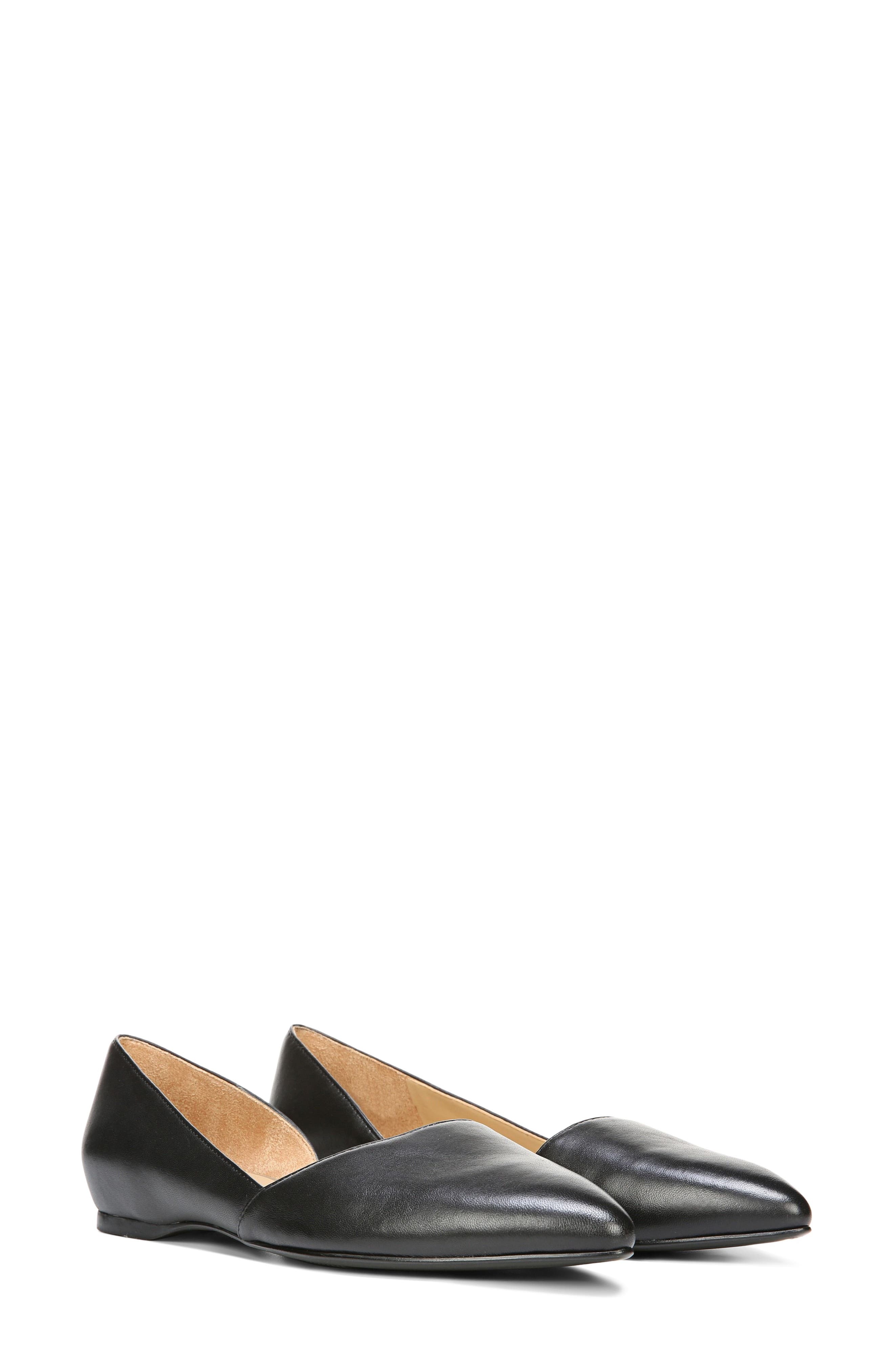 NATURALIZER, Samantha Half d'Orsay Flat, Alternate thumbnail 5, color, BLACK LEATHER