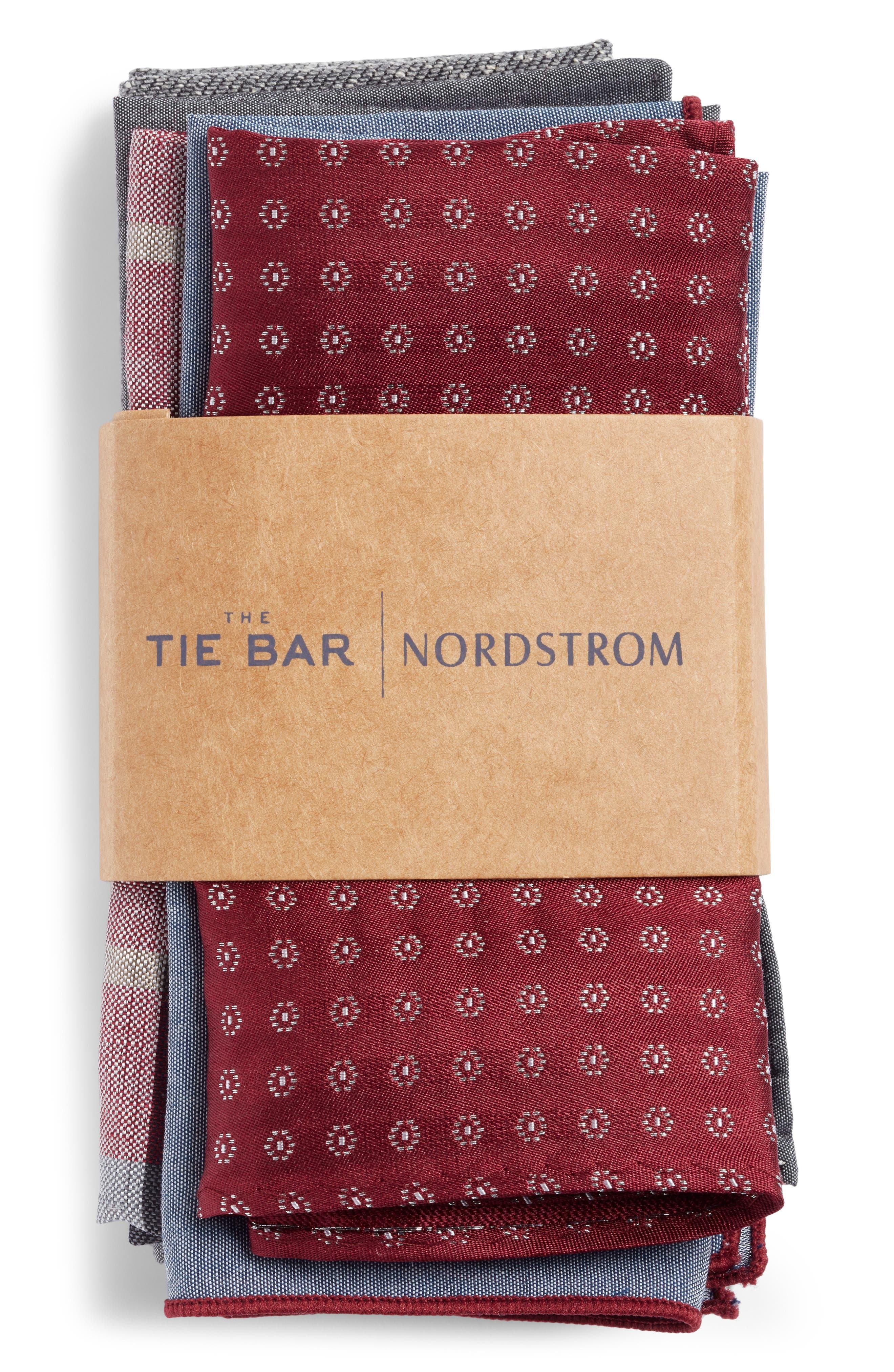 THE TIE BAR, Set of 5 Pocket Squares, Alternate thumbnail 2, color, BURGUNDY
