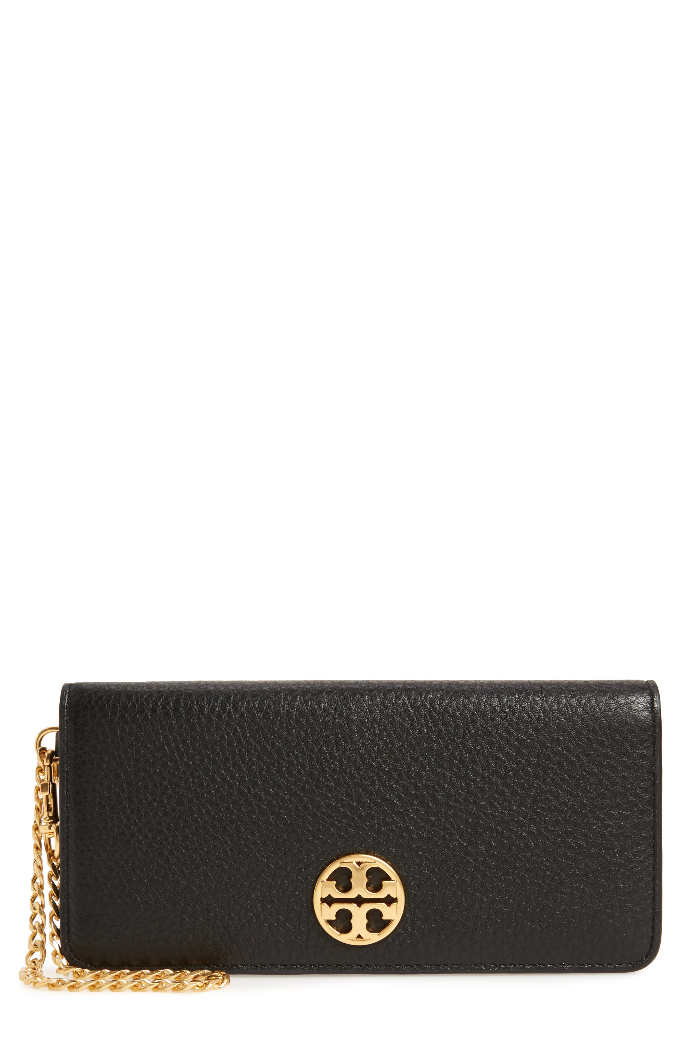 TORY BURCH, Chelsea Leather Wristlet Wallet, Main thumbnail 1, color, 001