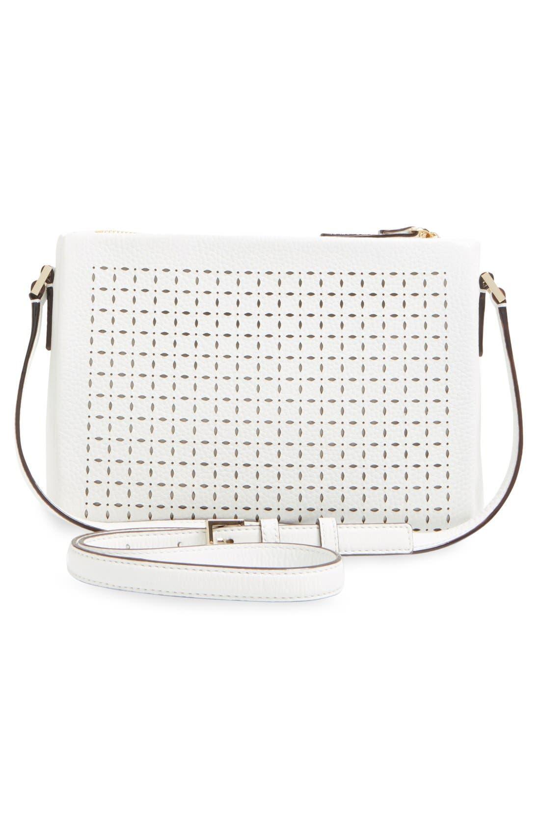 KATE SPADE NEW YORK, 'milton lane - lilibeth' perforated leather crossbody bag, Alternate thumbnail 2, color, 100