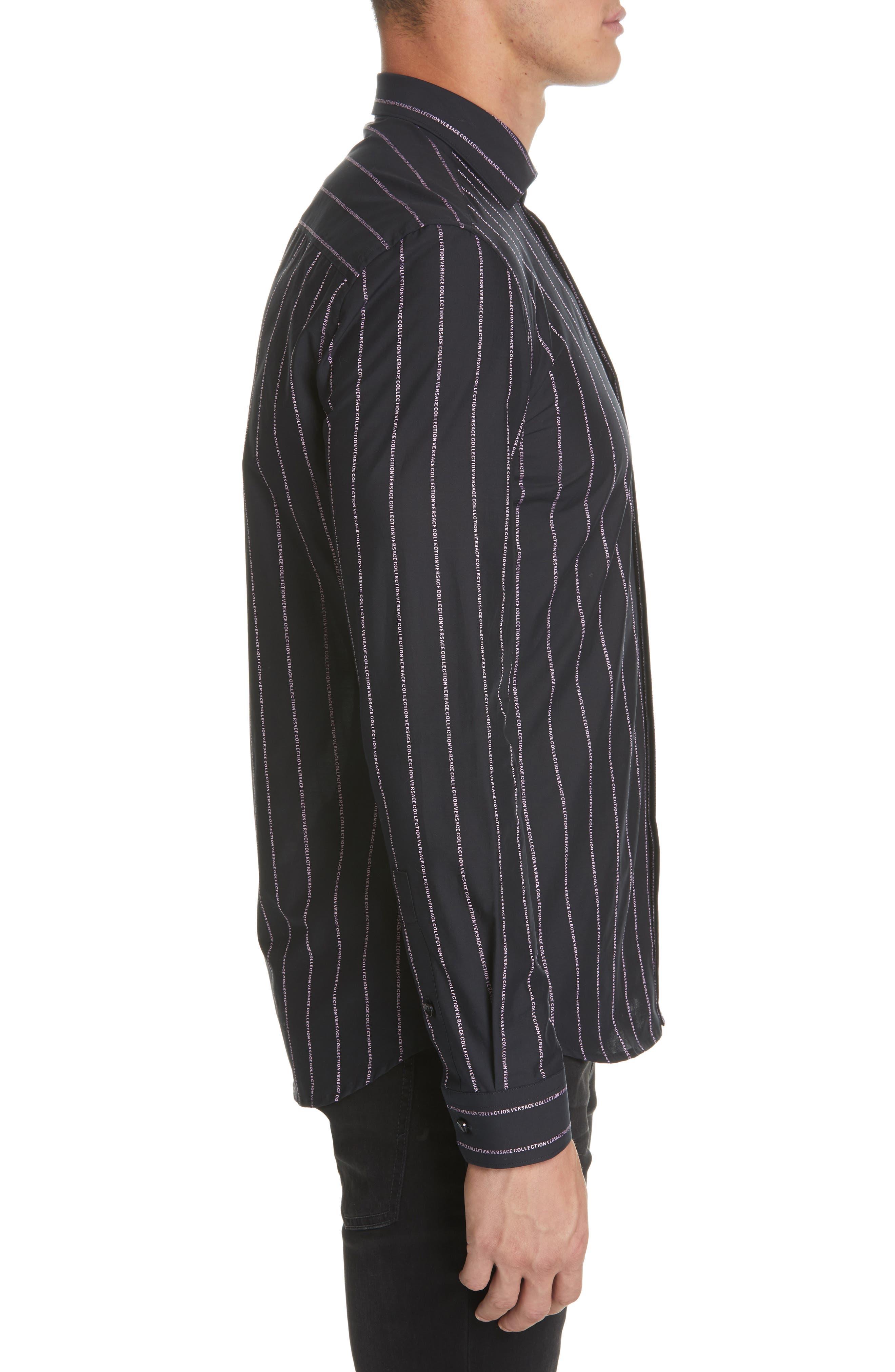 VERSACE COLLECTION, Logo Stripe Sport Shirt, Alternate thumbnail 4, color, BLACK/ PINK