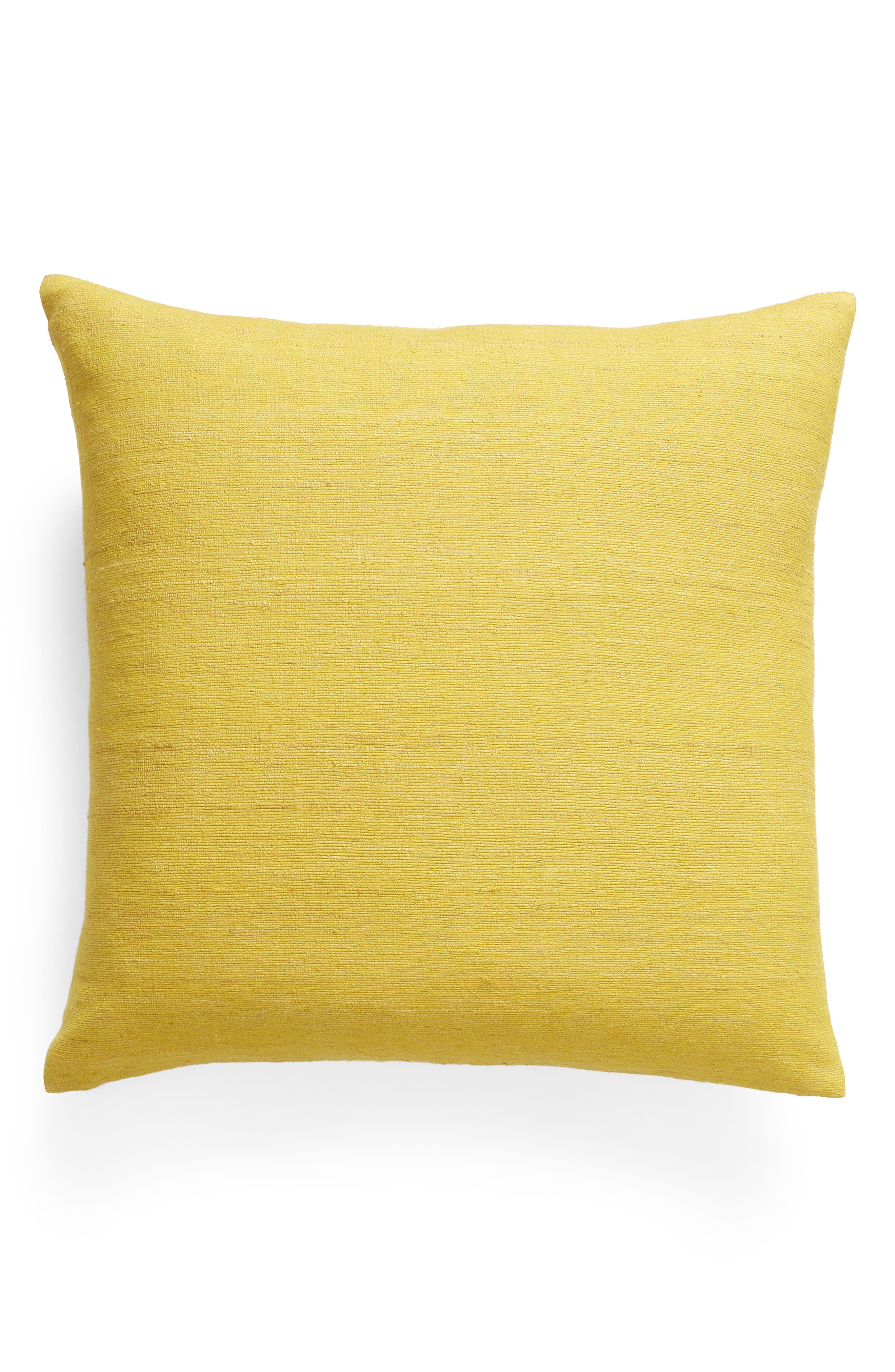 TREASURE & BOND Raw Silk Slub Accent Pillow, Main, color, YELLOW VIBRANT