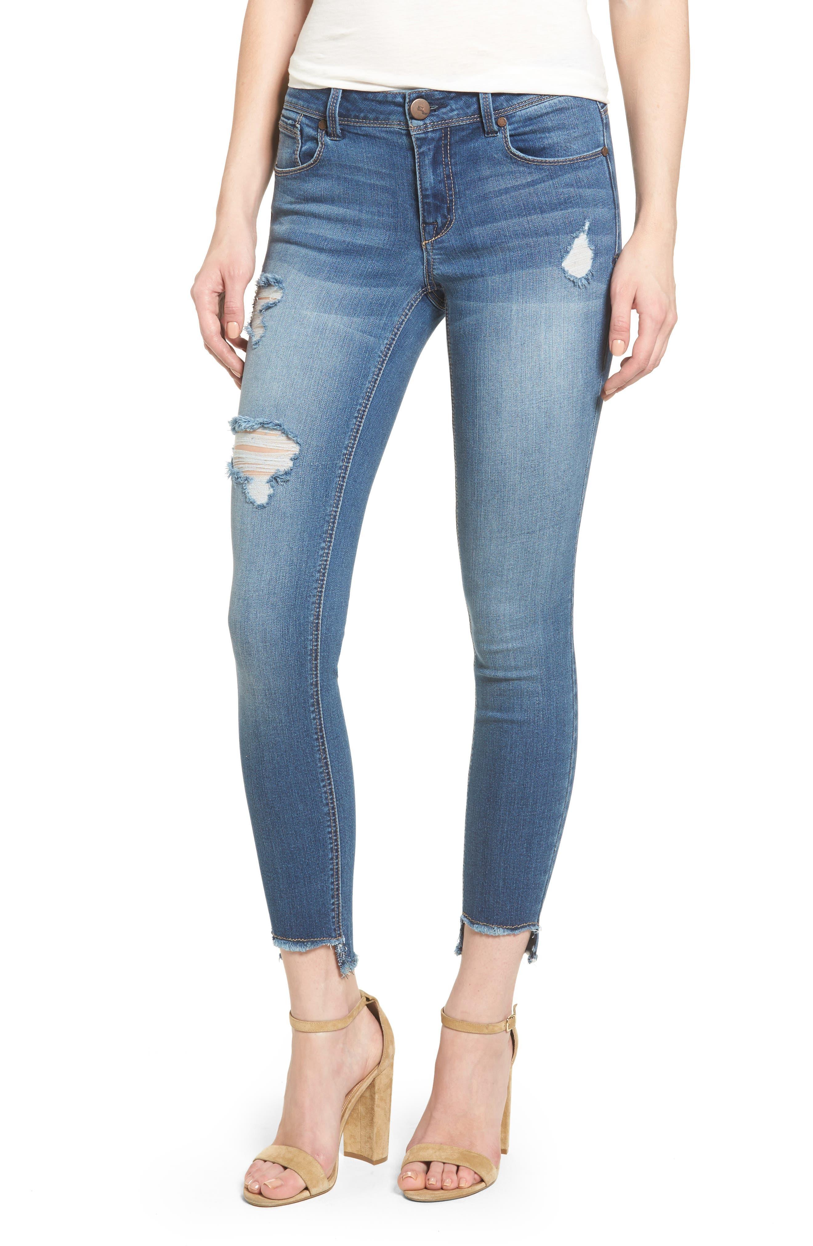 1822 DENIM, Step Hem Skinny Jeans, Main thumbnail 1, color, GREG