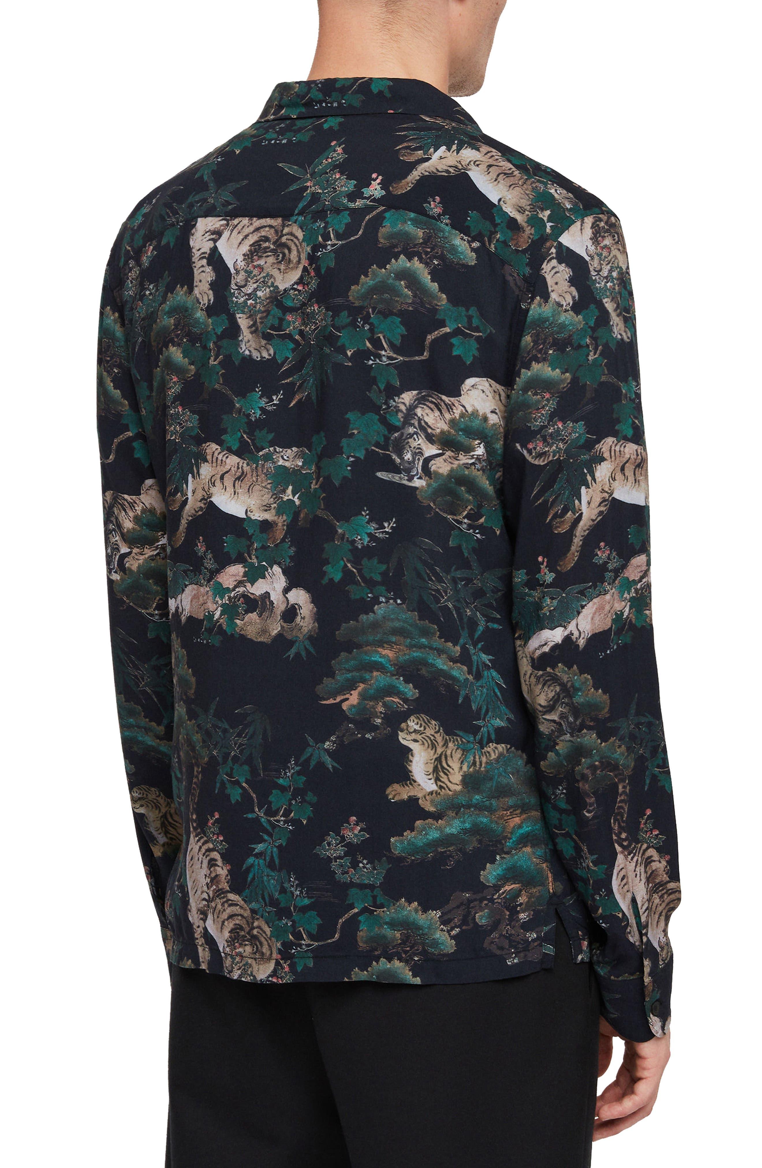 ALLSAINTS, Thicket Tiger Print Sport Shirt, Alternate thumbnail 3, color, 003