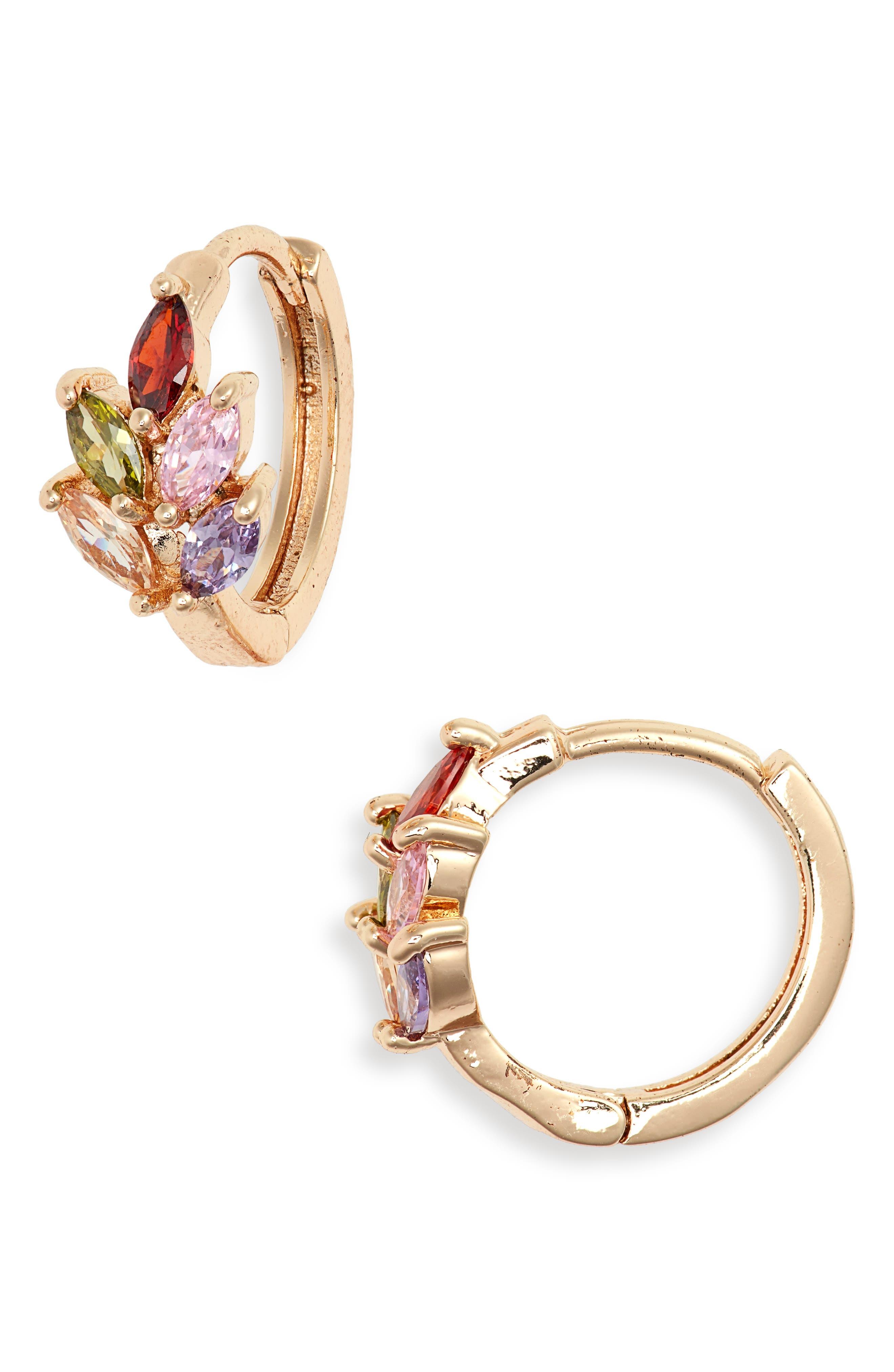AREA STARS, Crystal Huggie Hoop Earrings, Main thumbnail 1, color, 710