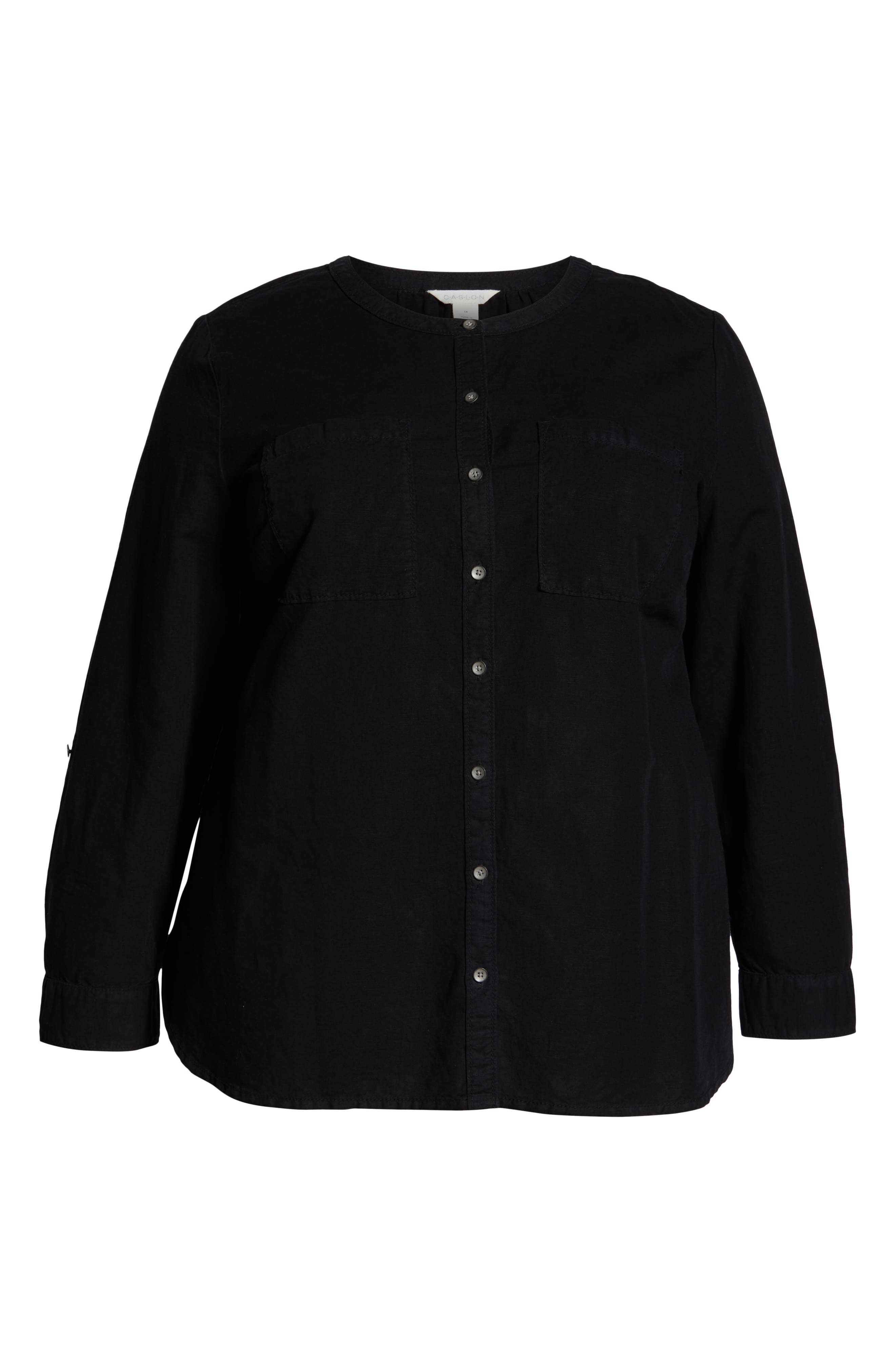 CASLON<SUP>®</SUP>, Long Sleeve Top, Alternate thumbnail 7, color, BLACK
