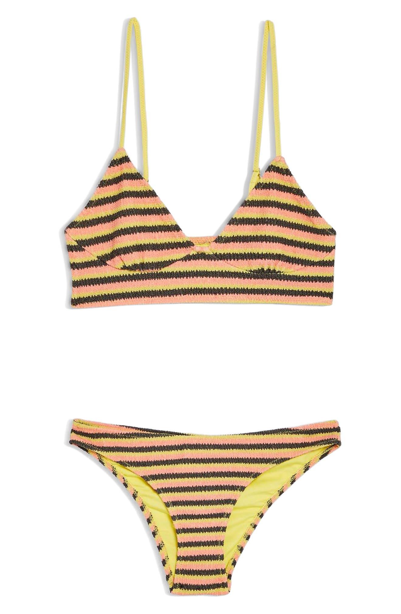 TOPSHOP, Textured Stripe Bikini Top, Alternate thumbnail 4, color, YELLOW MULTI