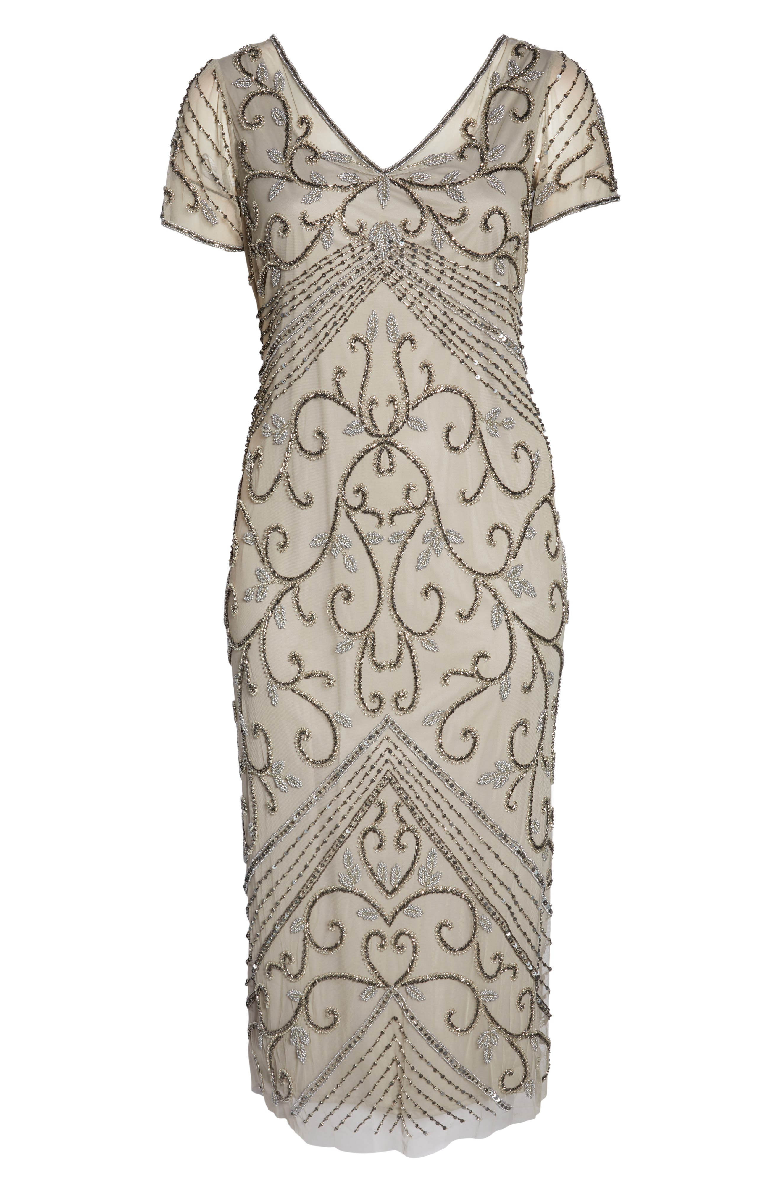 PISARRO NIGHTS, Beaded Mesh Gown, Alternate thumbnail 7, color, SILVER