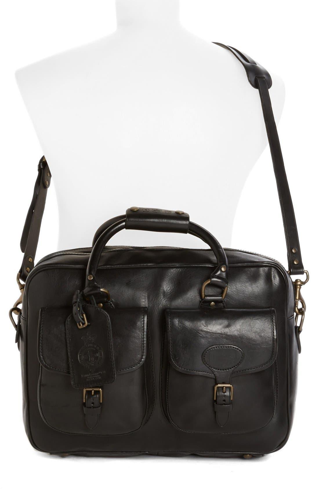 POLO RALPH LAUREN, Leather Commuter Bag, Alternate thumbnail 2, color, 001