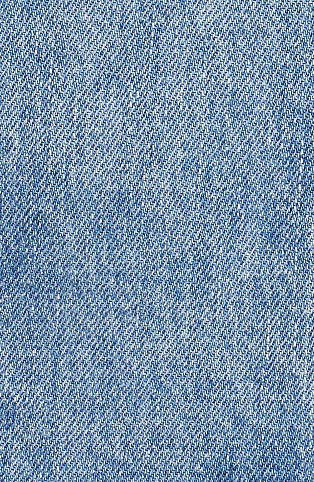 TOPSHOP, Denim Miniskirt, Alternate thumbnail 6, color, MID DENIM