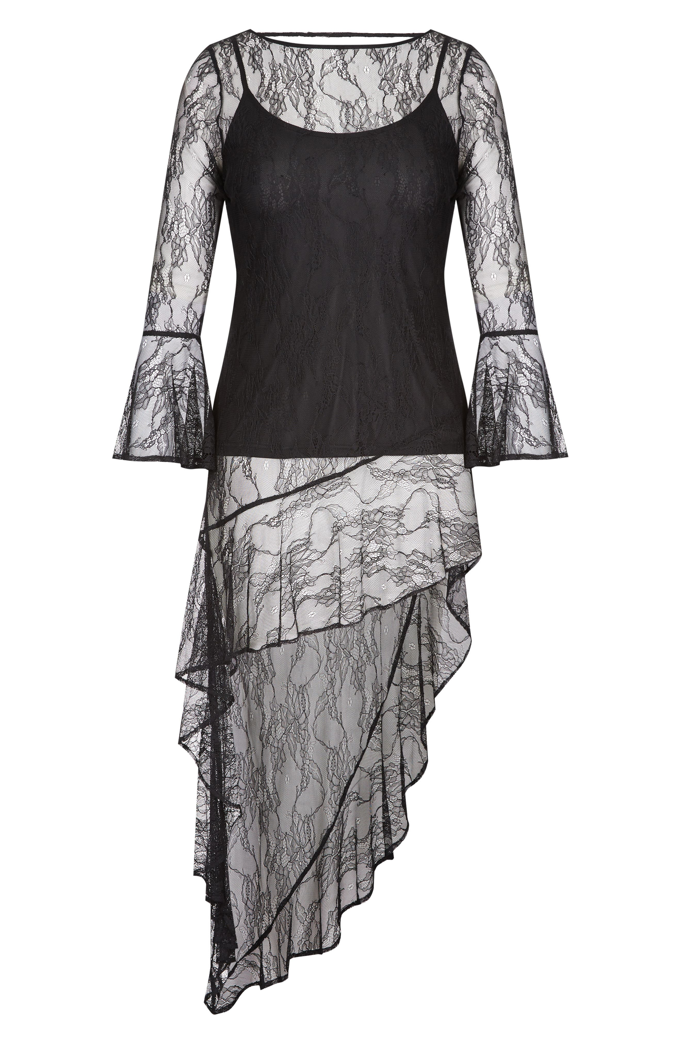 CITY CHIC, Sheer Lace Top, Alternate thumbnail 3, color, BLACK