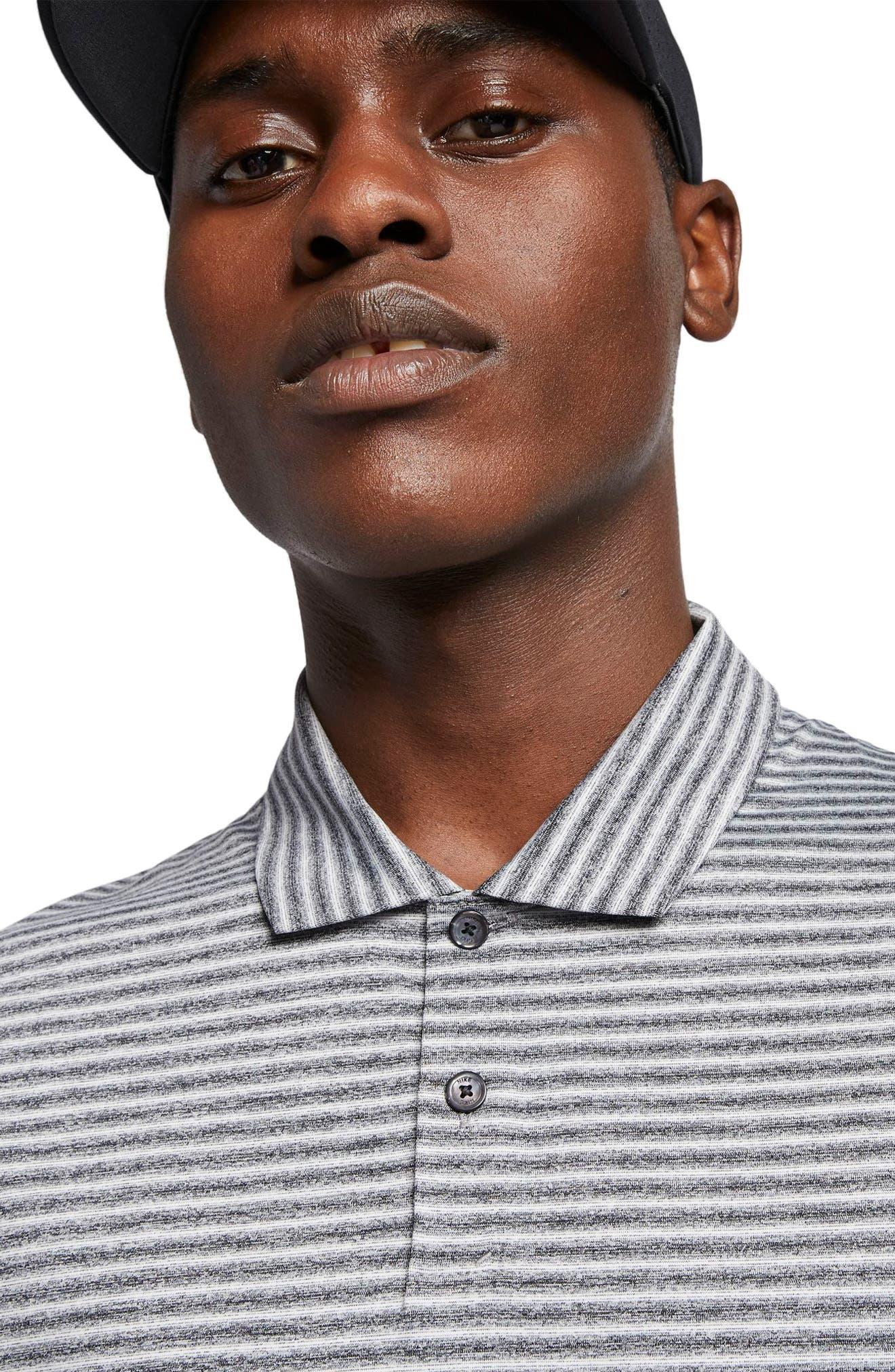 NIKE, TW Stripe Dri-FIT Polo, Alternate thumbnail 3, color, BLACK