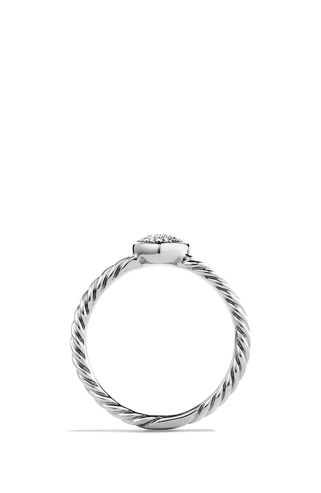 DAVID YURMAN, 'Cable Collectibles' Heart Ring with Diamonds, Alternate thumbnail 2, color, DIAMOND