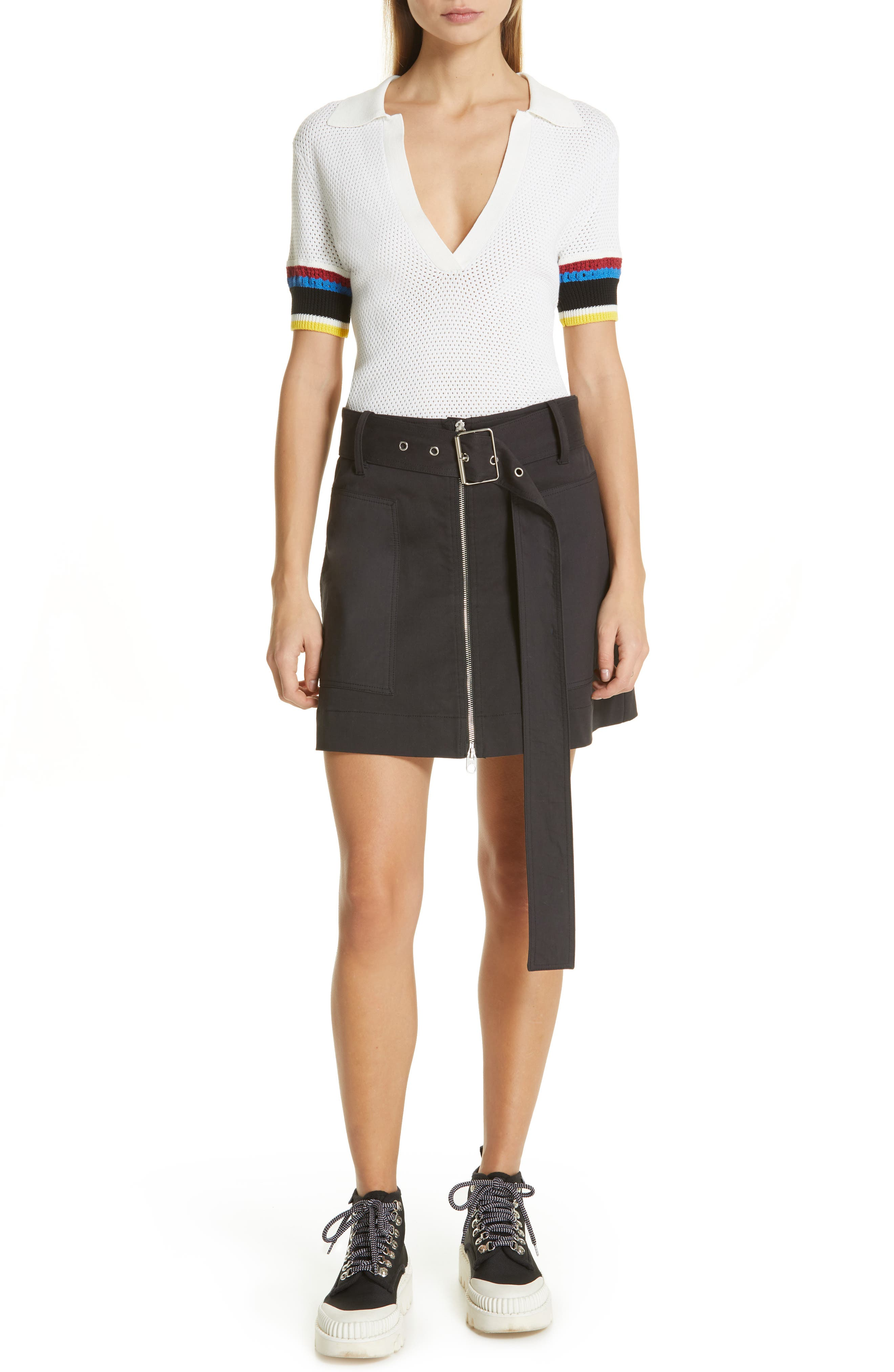 PROENZA SCHOULER, PSWL Stripe Sleeve Polo Top, Alternate thumbnail 7, color, OFF WHITE