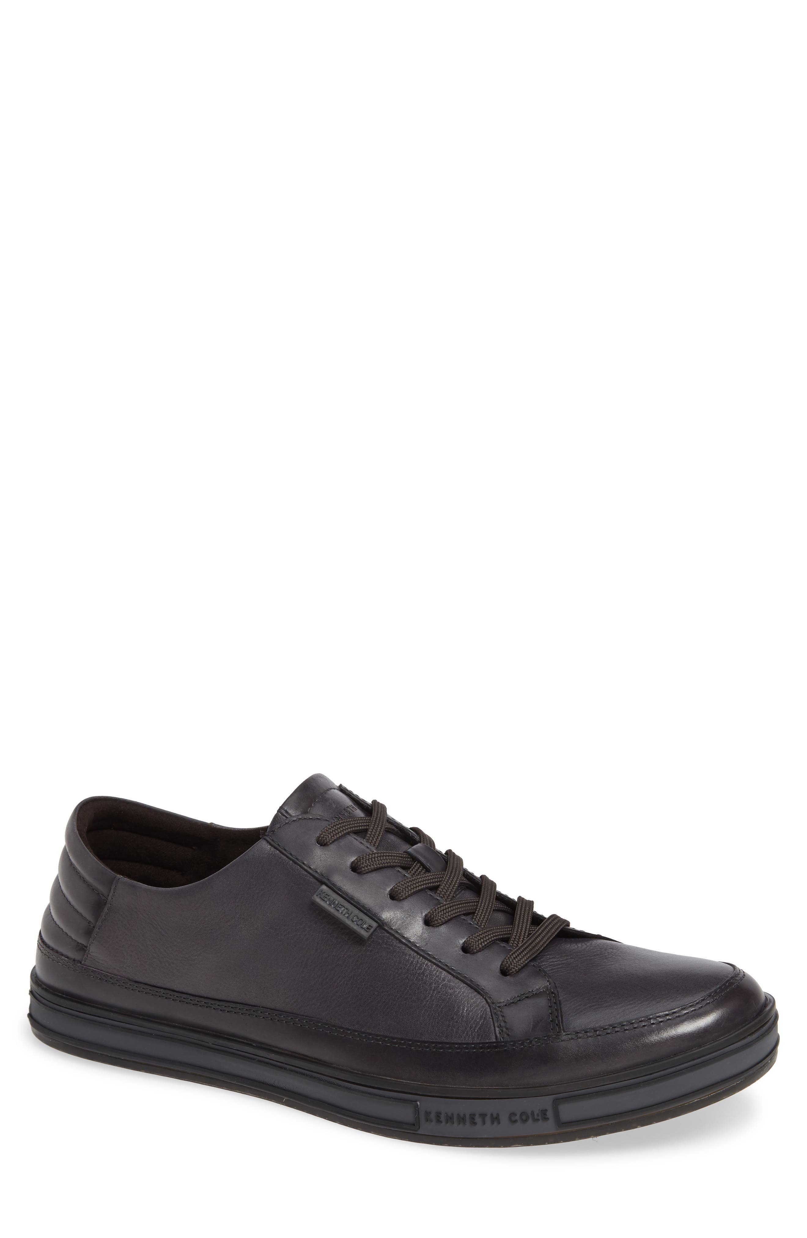 KENNETH COLE NEW YORK, Brand Stand Low Top Sneaker, Main thumbnail 1, color, GREY TUMBLED LEATHER/ LEATHER