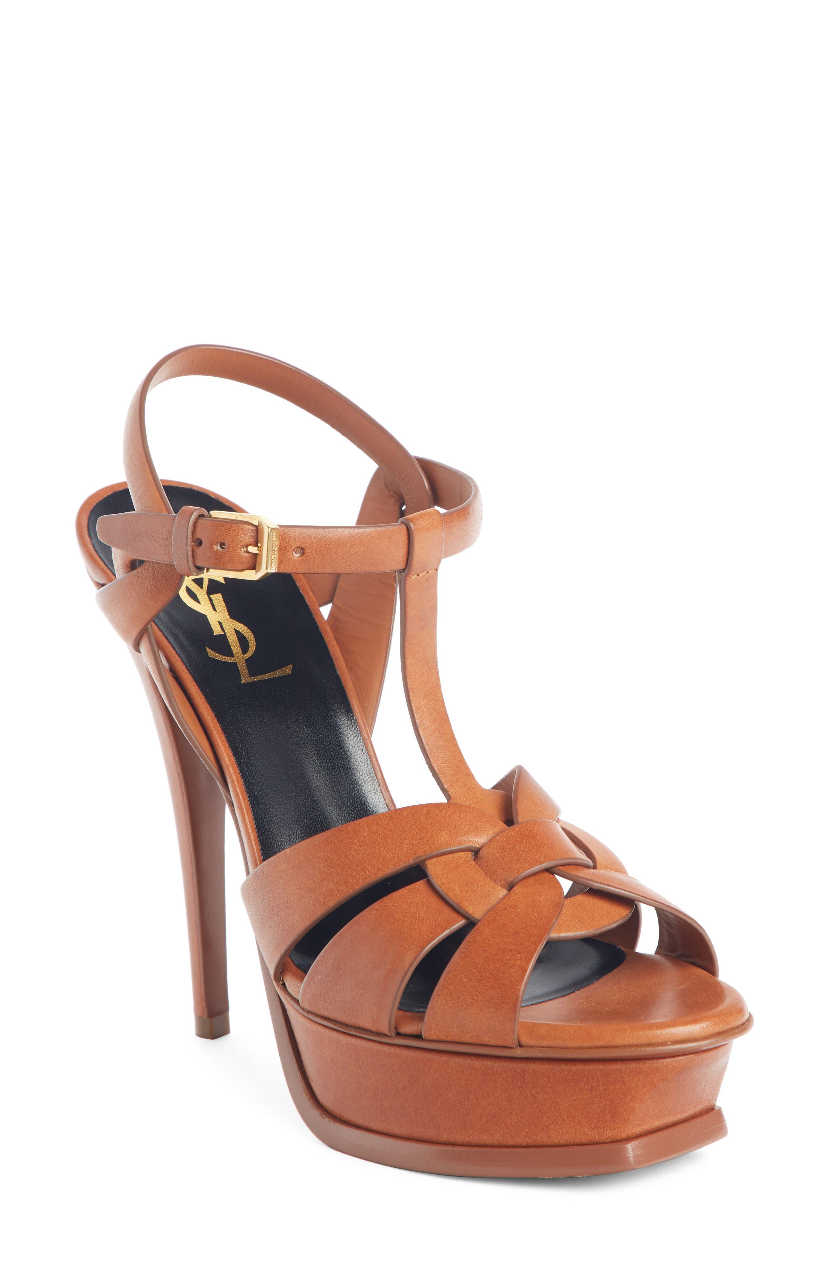 SAINT LAURENT 'Tribute' Sandal, Main, color, AMBRA