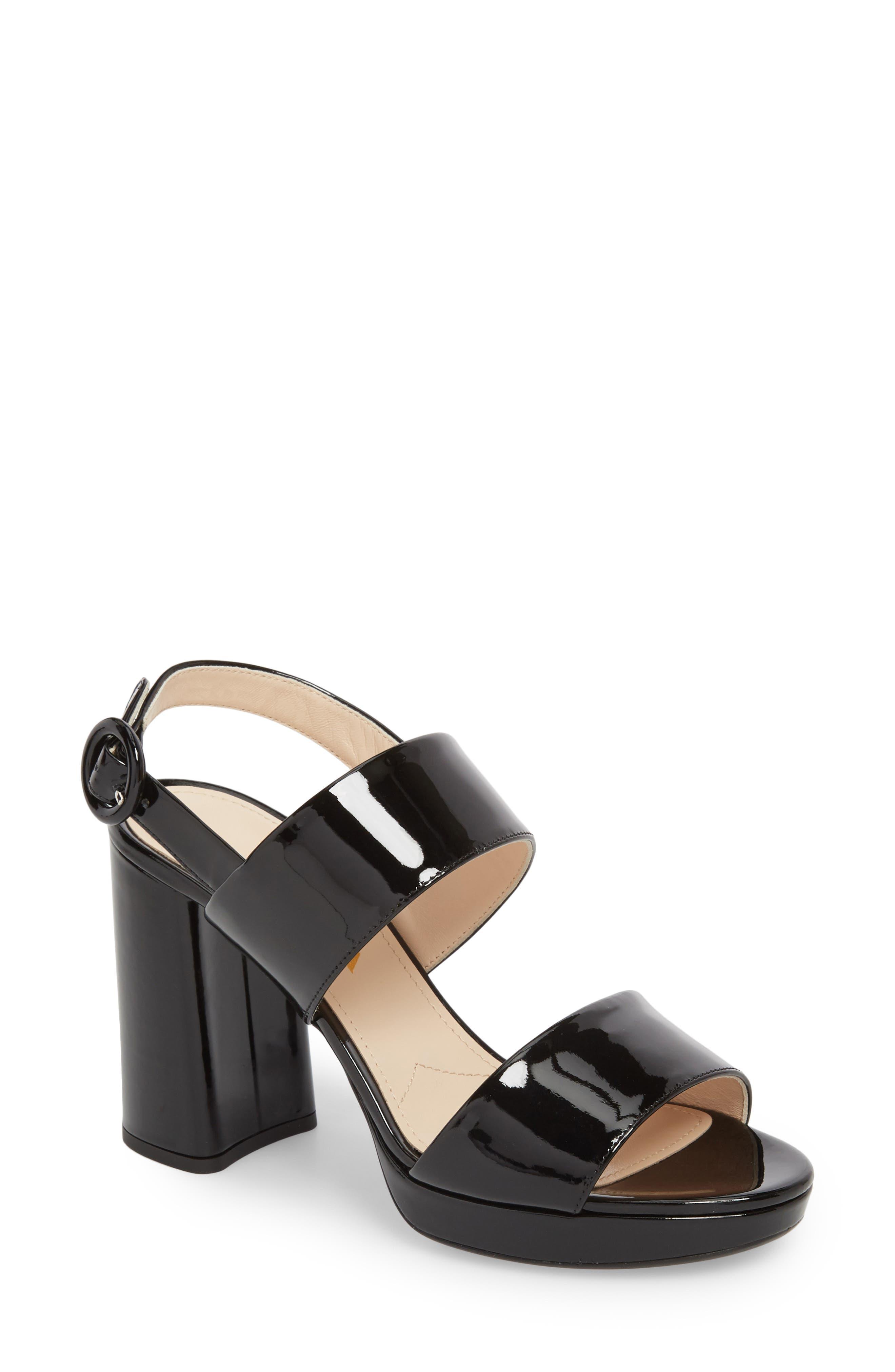 PRADA, Slingback Platform Sandal, Main thumbnail 1, color, BLACK PATENT