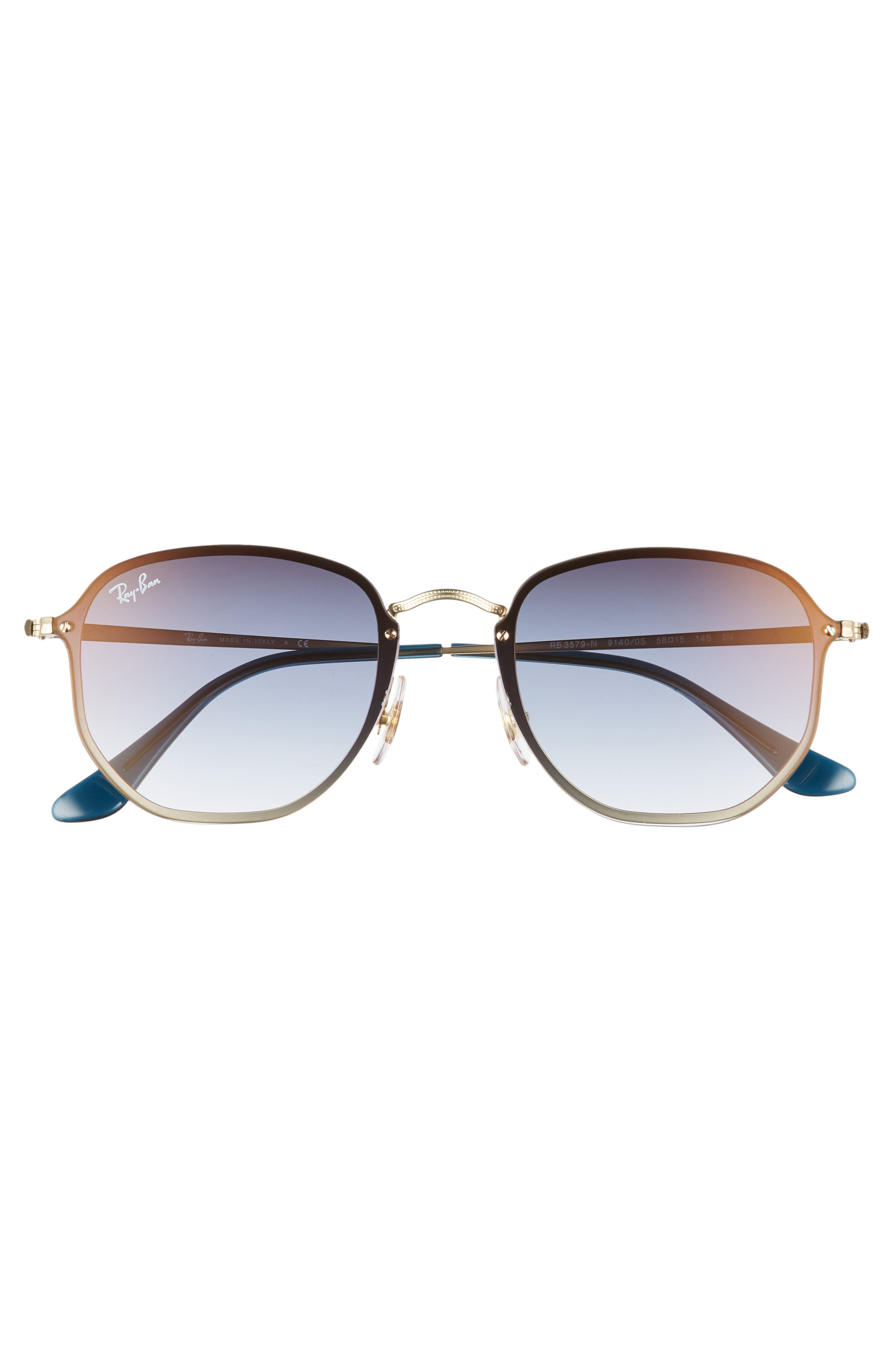 RAY-BAN, 58mm Round Sunglasses, Alternate thumbnail 3, color, GOLD/ TRANSPARENT BLUE