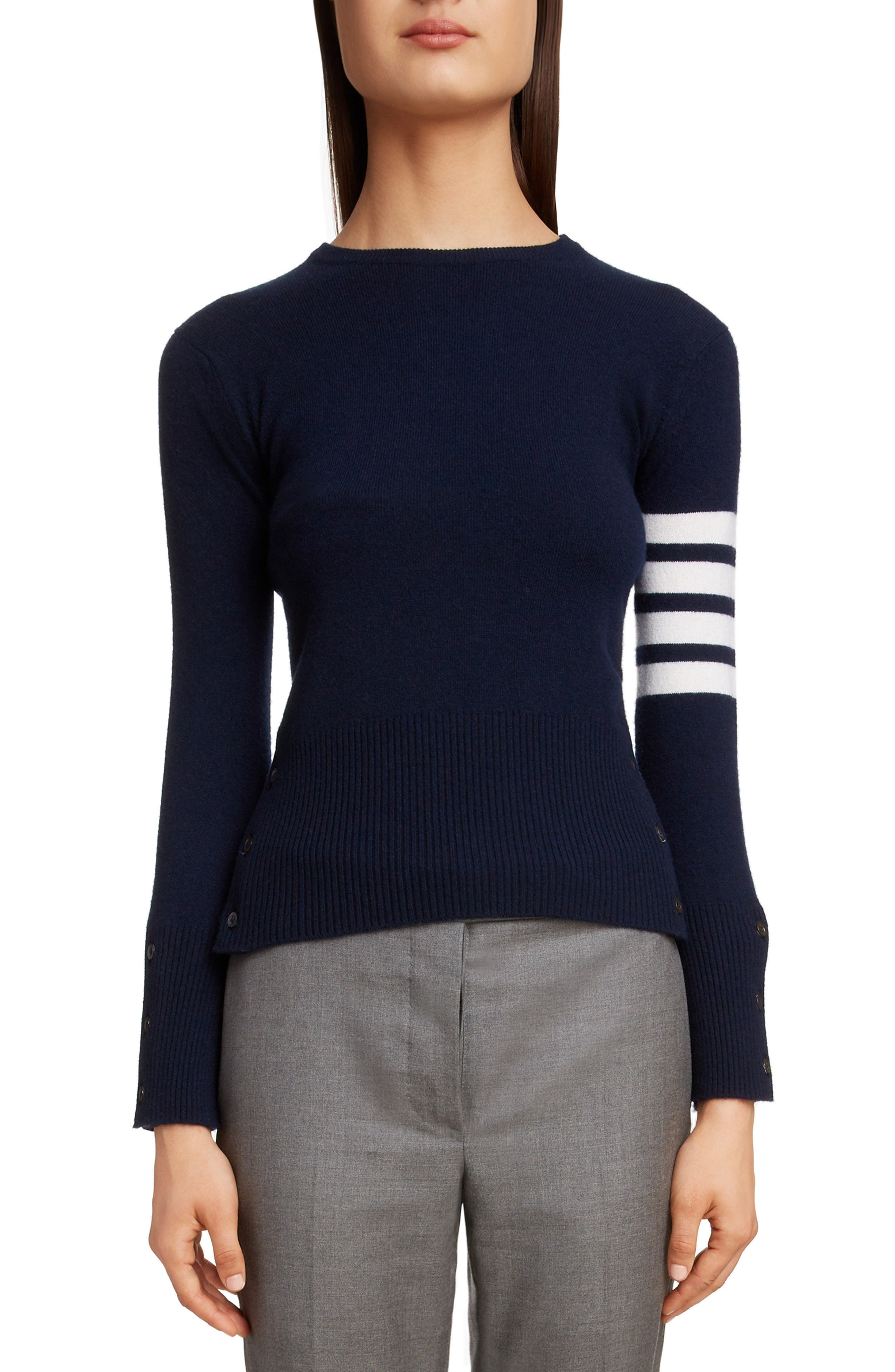 THOM BROWNE, Classic Crewneck Cashmere Sweater, Main thumbnail 1, color, NAVY