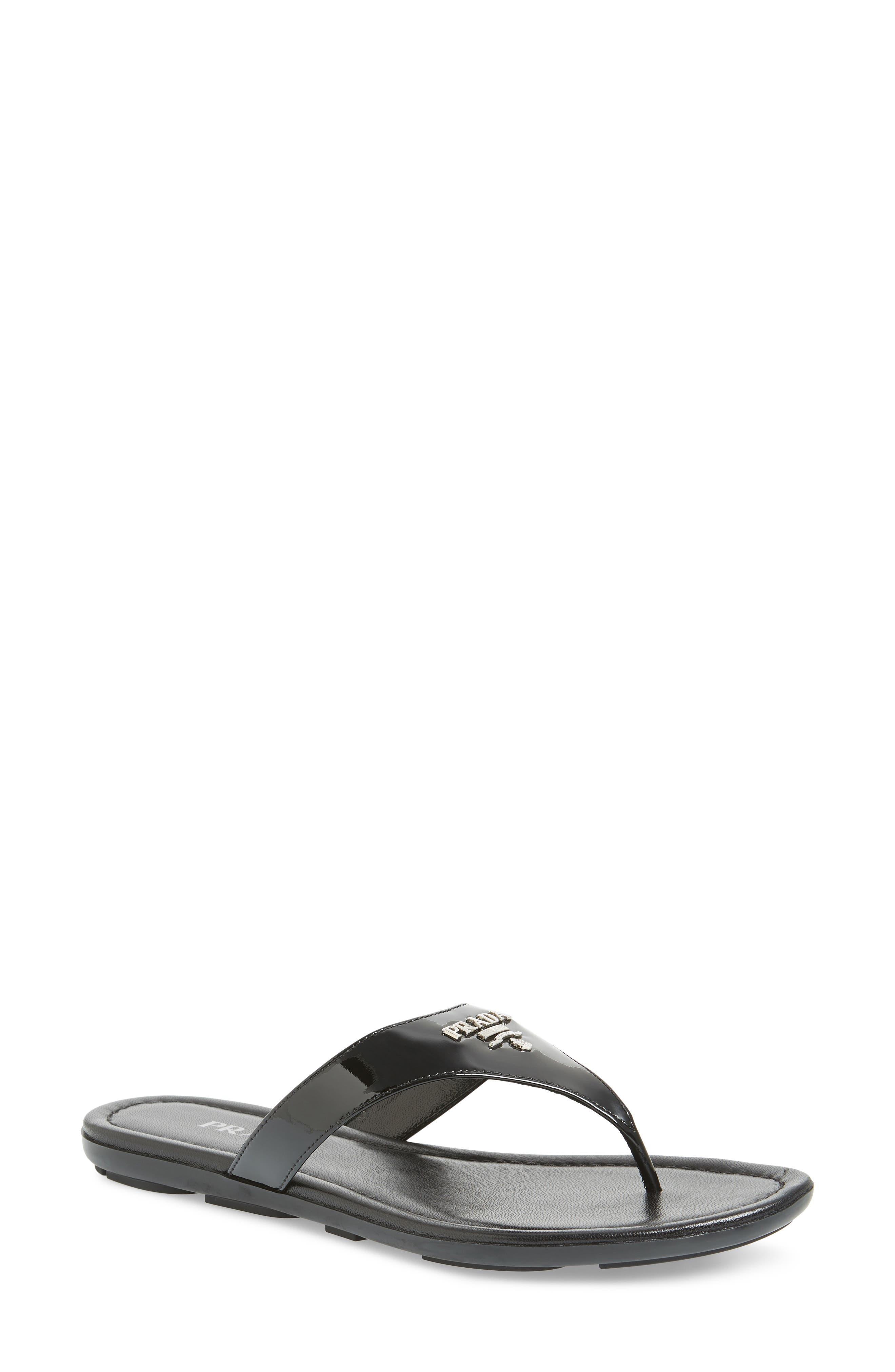 PRADA Logo Flip Flop, Main, color, BLACK