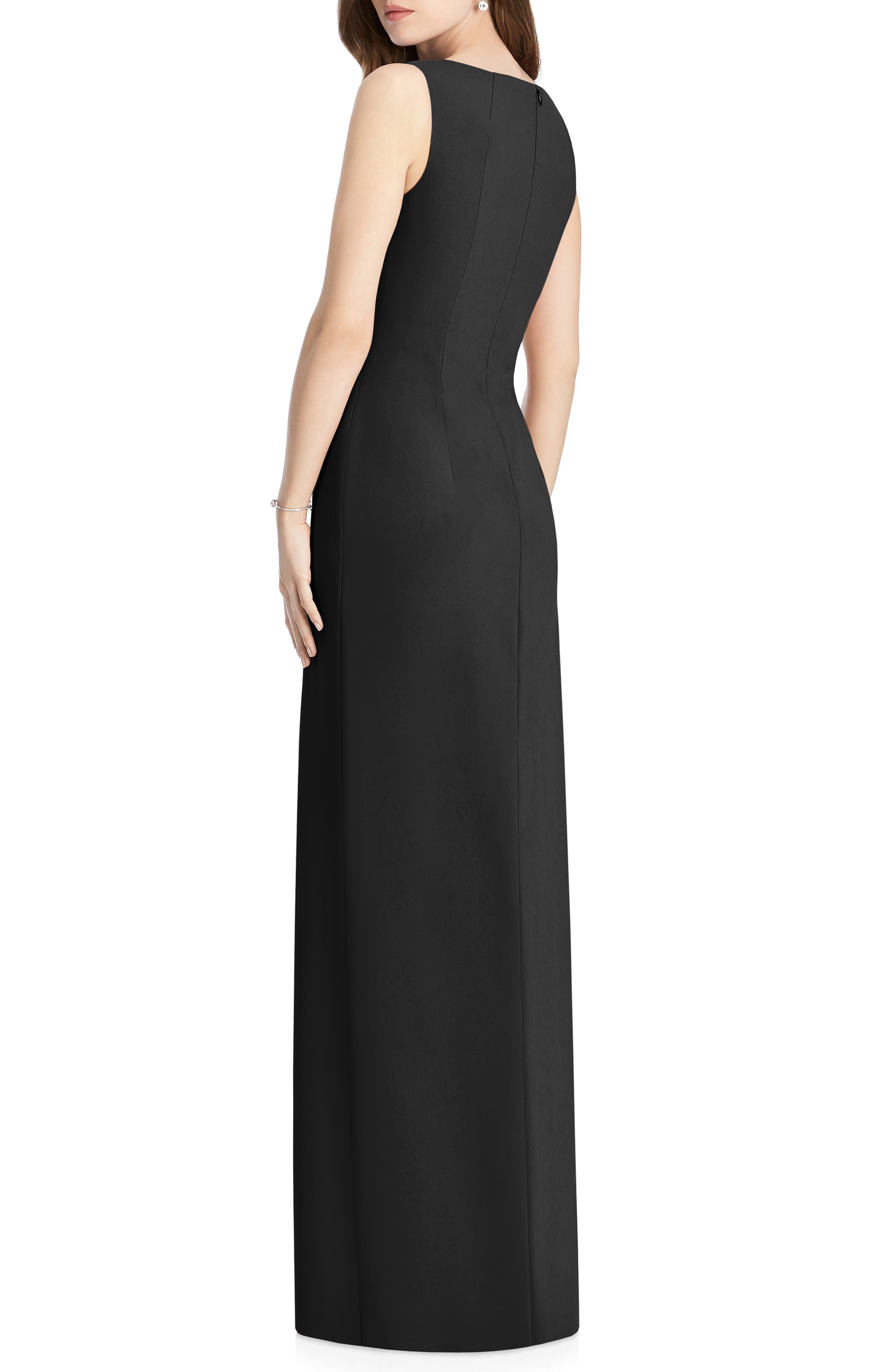 JENNY PACKHAM, Crepe Column Gown, Alternate thumbnail 2, color, BLACK