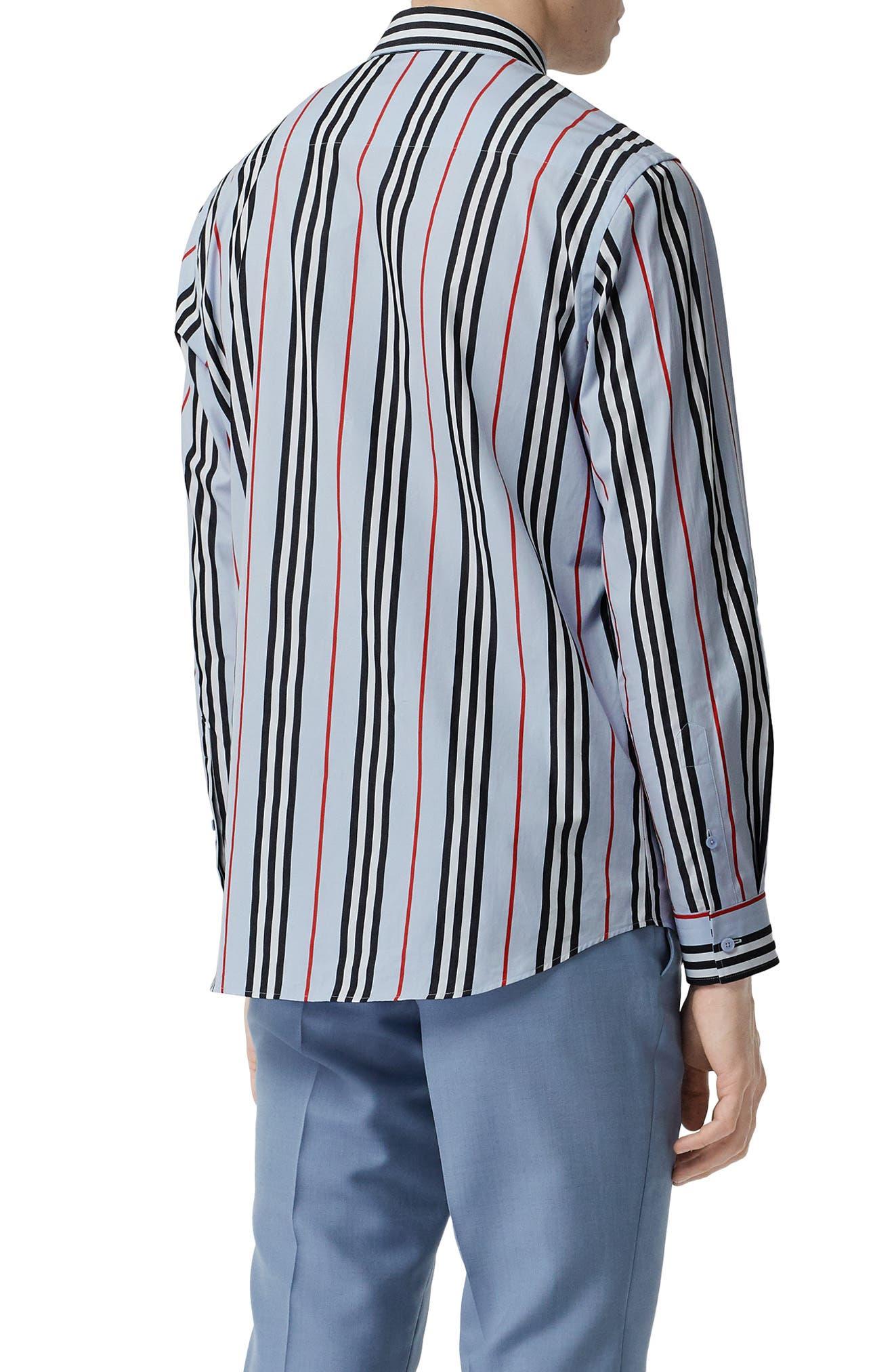 BURBERRY, Icon Stripe Shirt, Alternate thumbnail 4, color, PALE BLUE