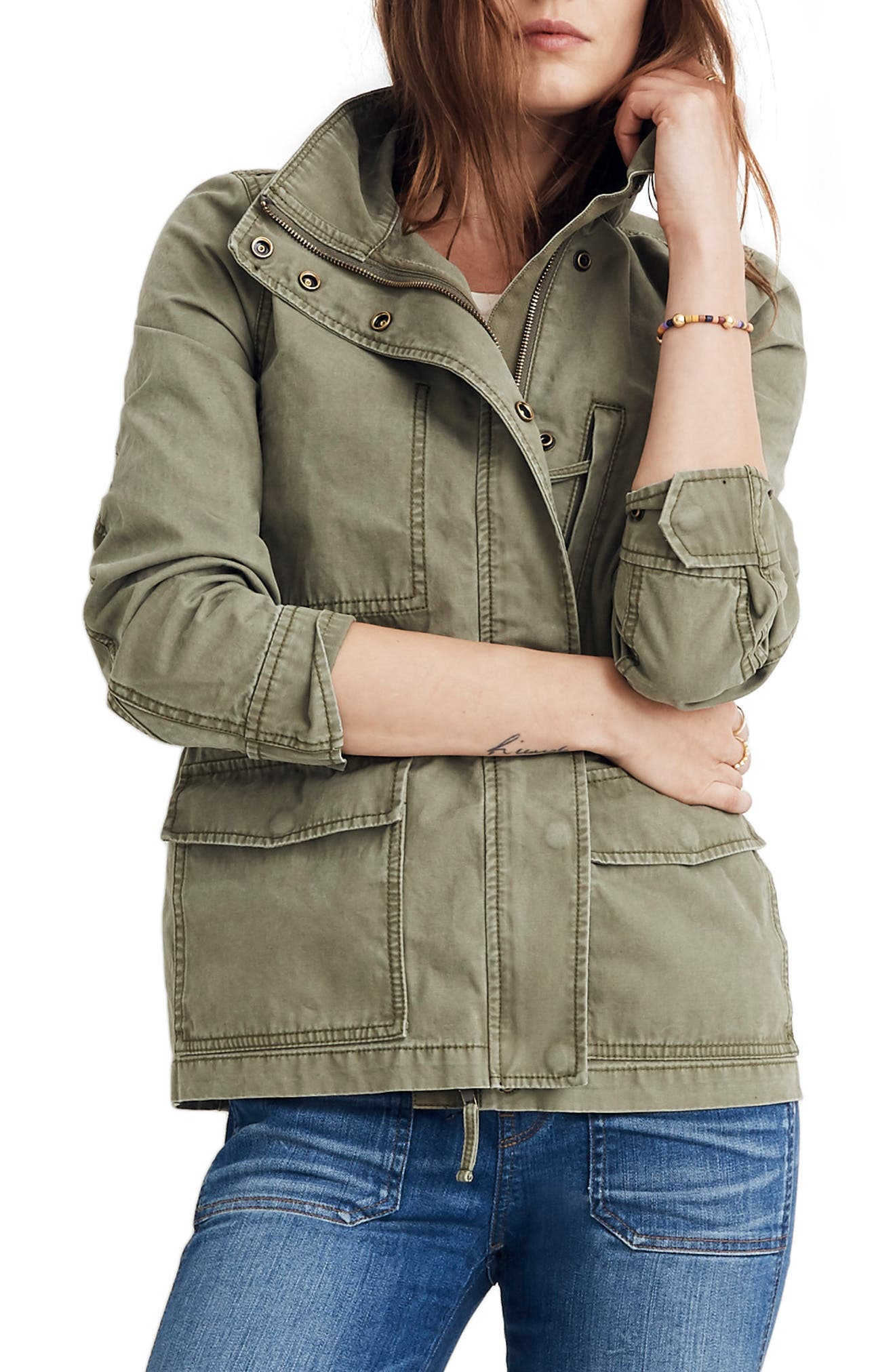 MADEWELL Surplus Cotton Jacket, Main, color, DESERT OLIVE