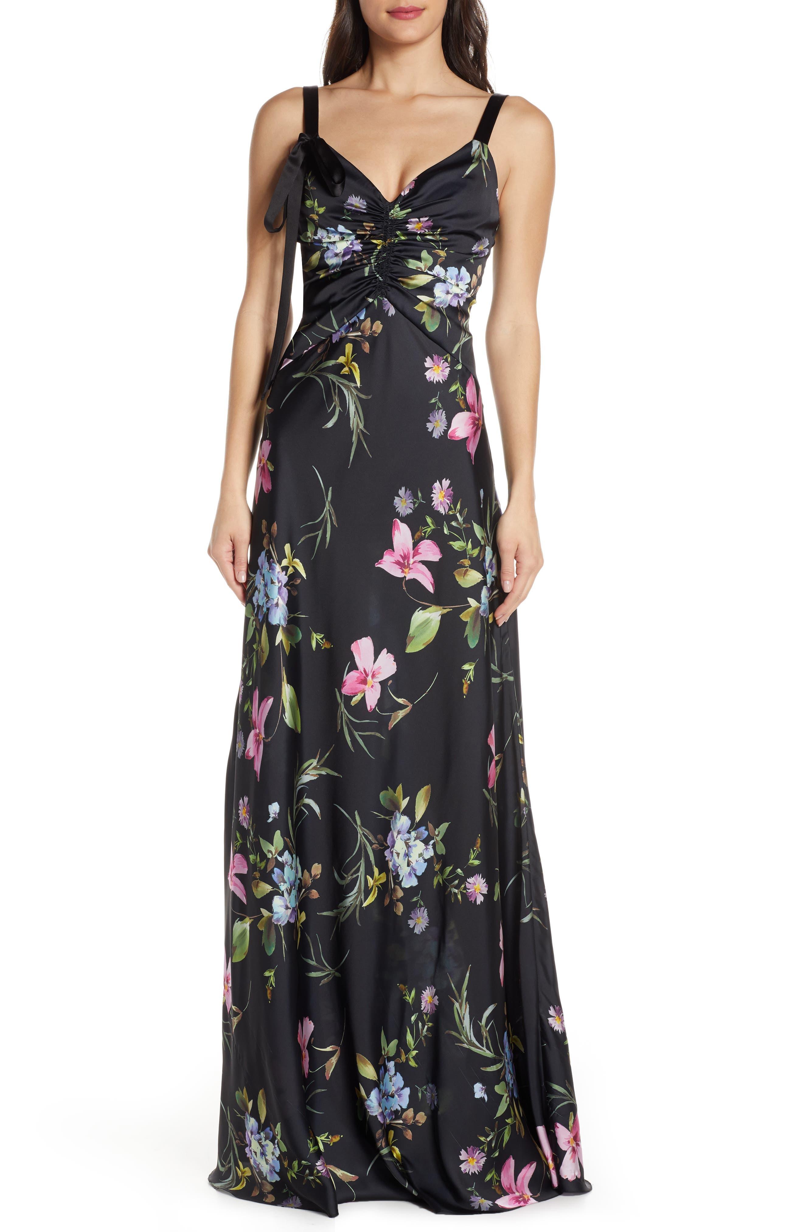 Jill Jill Stuart Floral Gown, Black