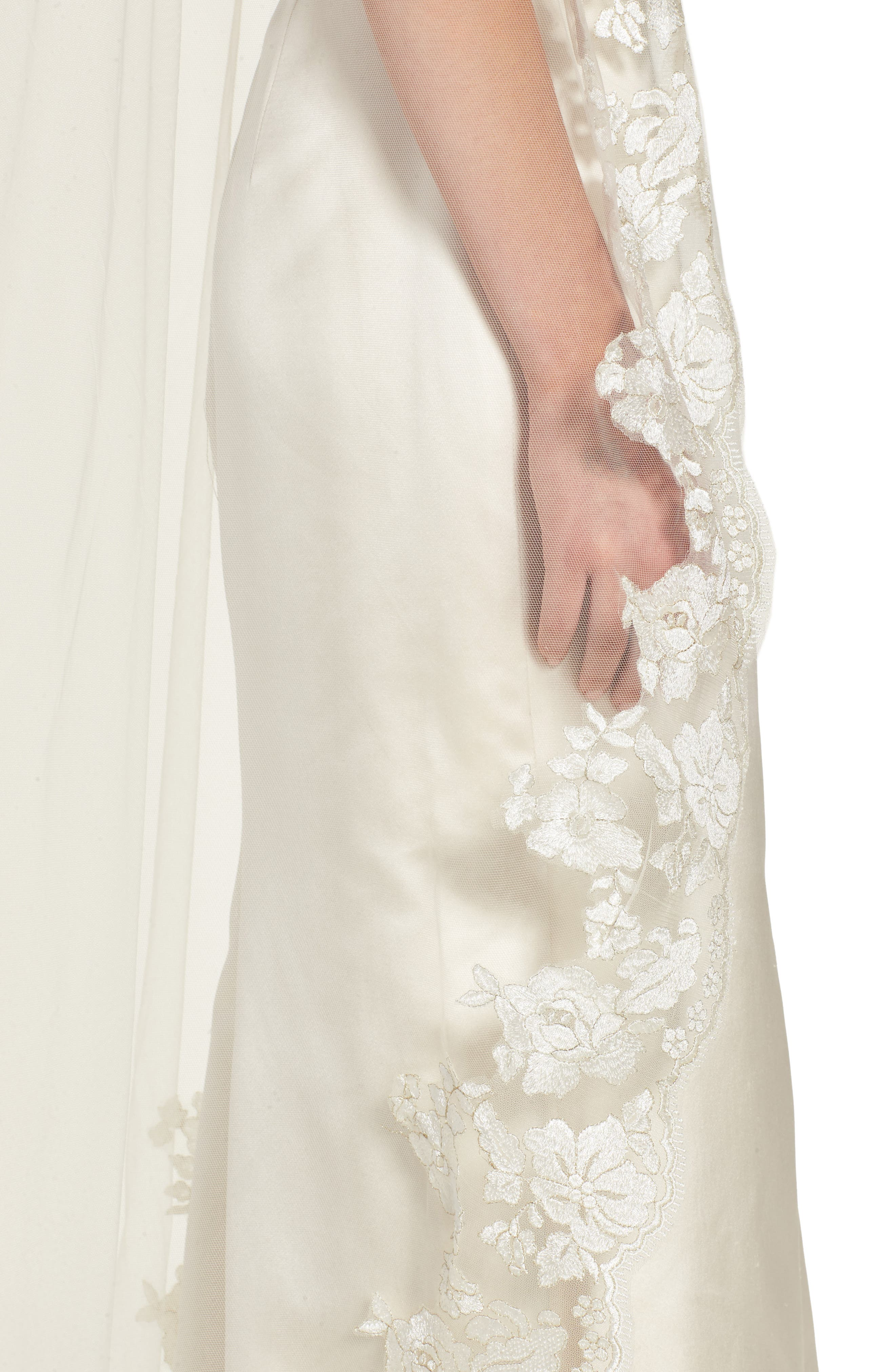 BRIDES & HAIRPINS, Florentina Embroidered Cathedral Veil, Alternate thumbnail 2, color, IVORY