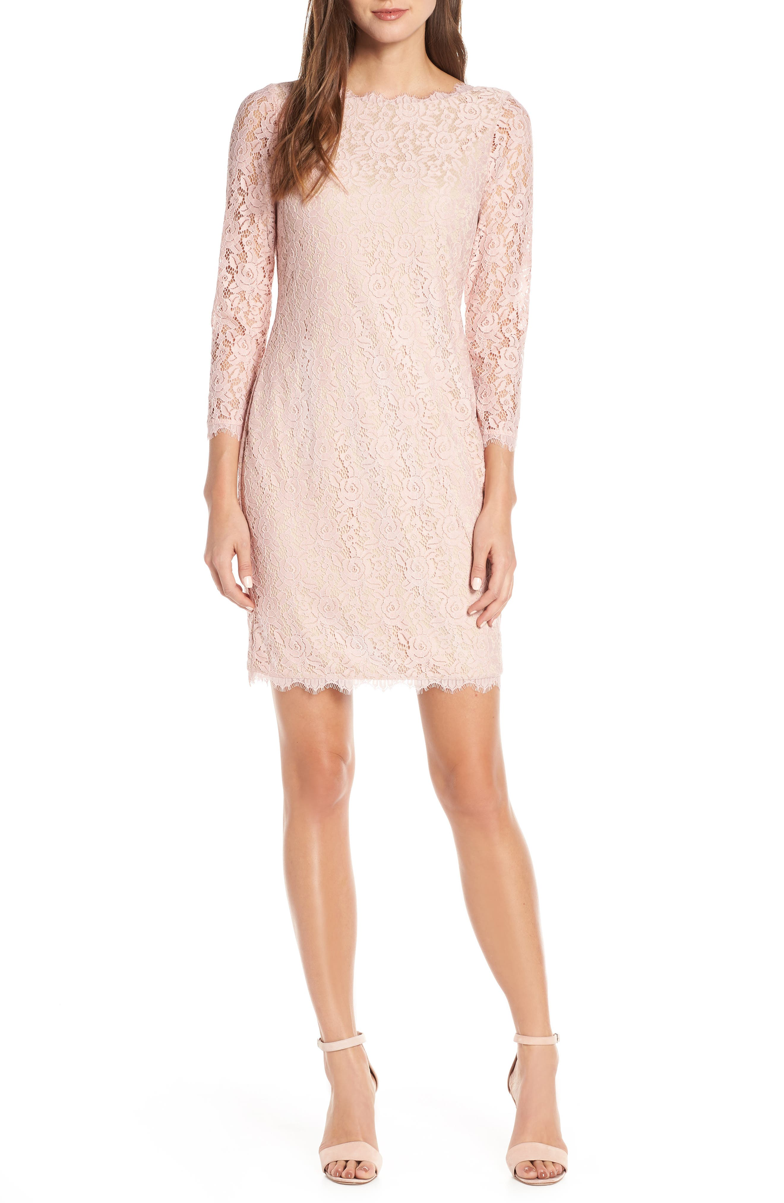 Eliza J Embroidered Lace Sheath, Pink