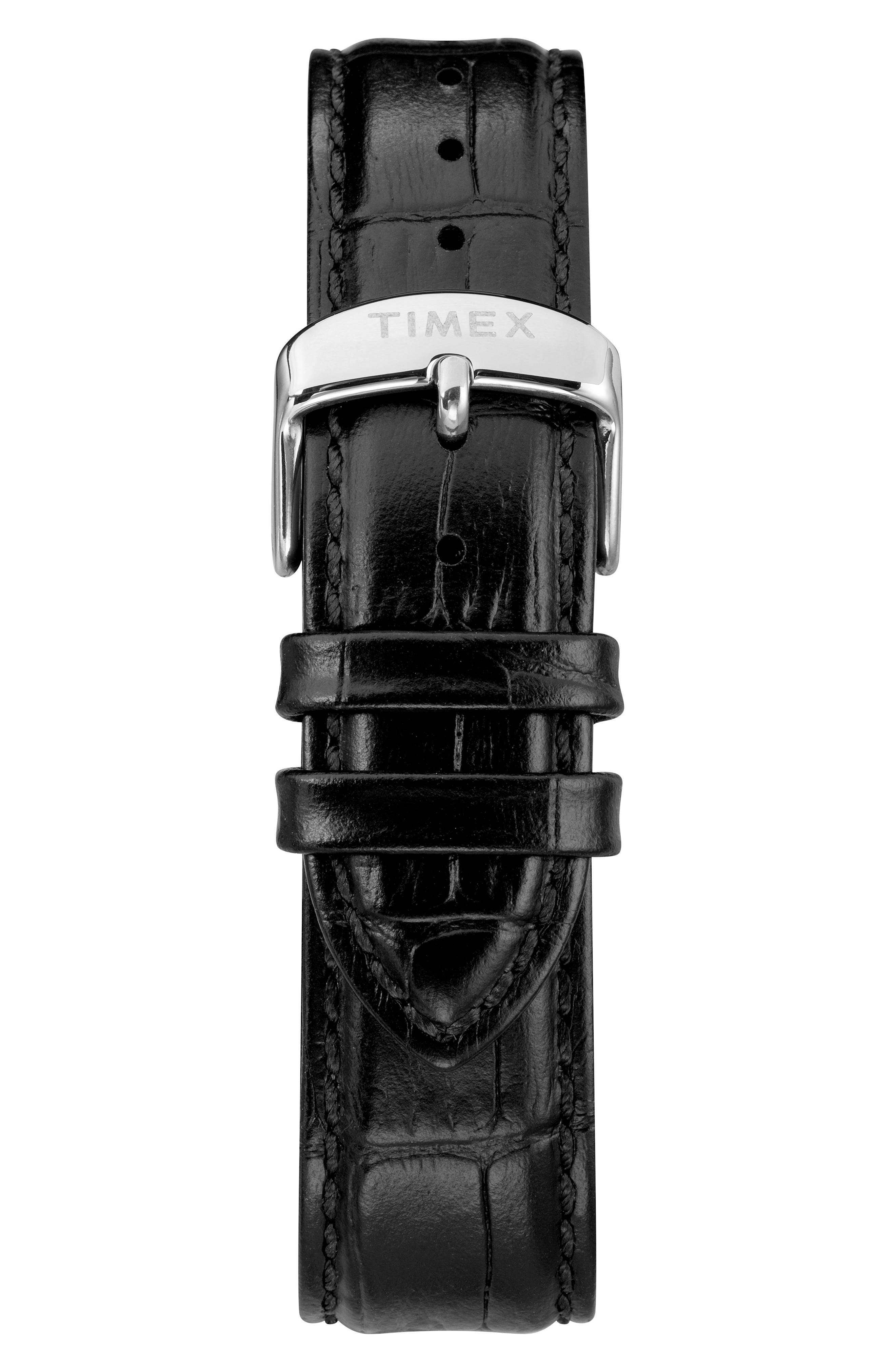 TIMEX<SUP>®</SUP>, Waterbury Leather Strap Watch, 40mm, Alternate thumbnail 2, color, BLACK/ WHITE/ SILVER