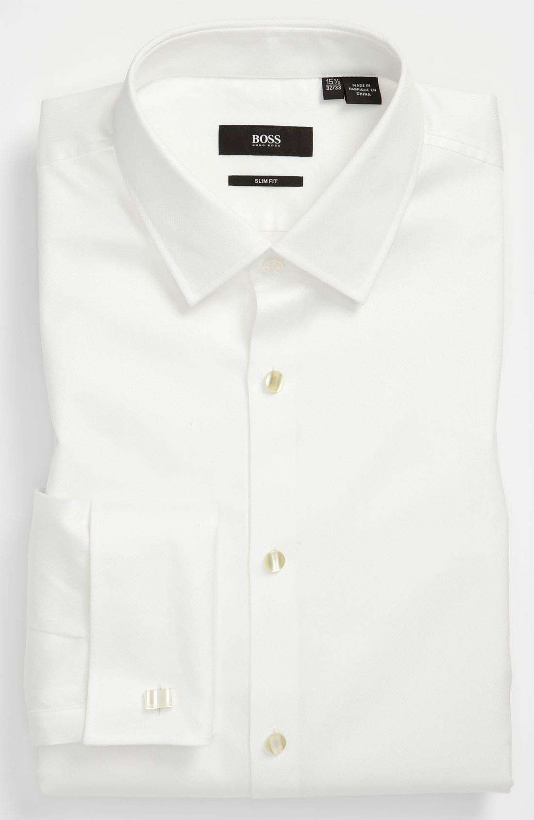 BOSS Jameson Slim Fit Diamond Weave French Cuff Tuxedo Shirt, Main, color, 120