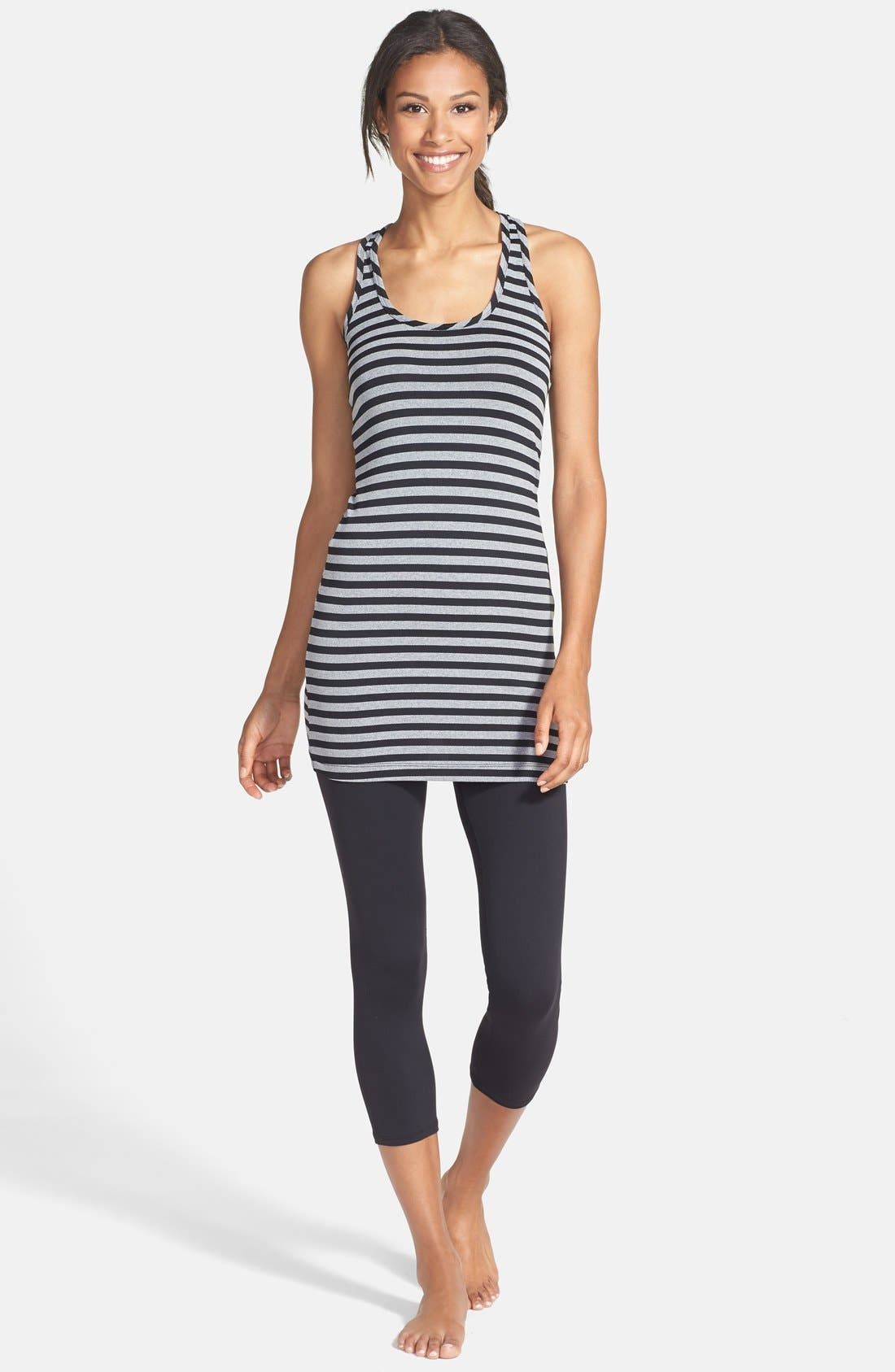 HARD TAIL, Stripe Long Racerback Tank, Alternate thumbnail 4, color, 001