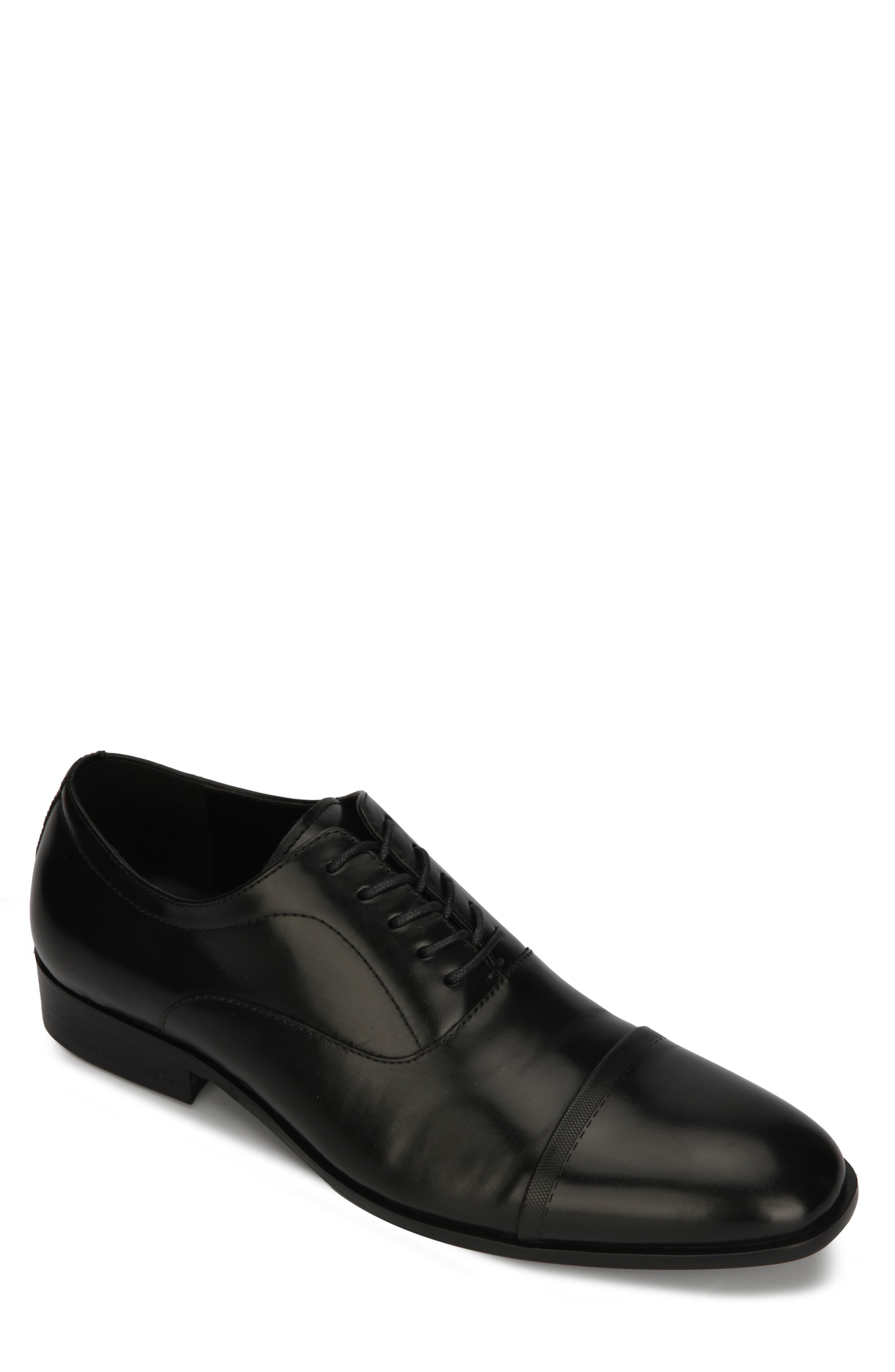 REACTION KENNETH COLE, Robson Cap Toe Oxford, Main thumbnail 1, color, BLACK