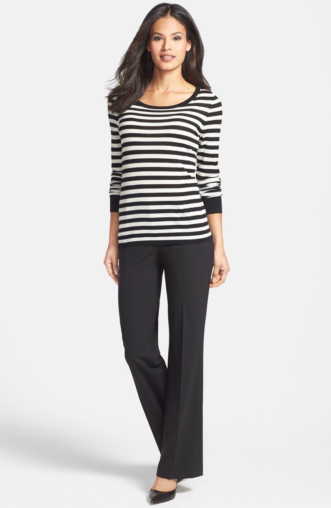 BOSS, Stripe Wool Sweater, Alternate thumbnail 4, color, 006