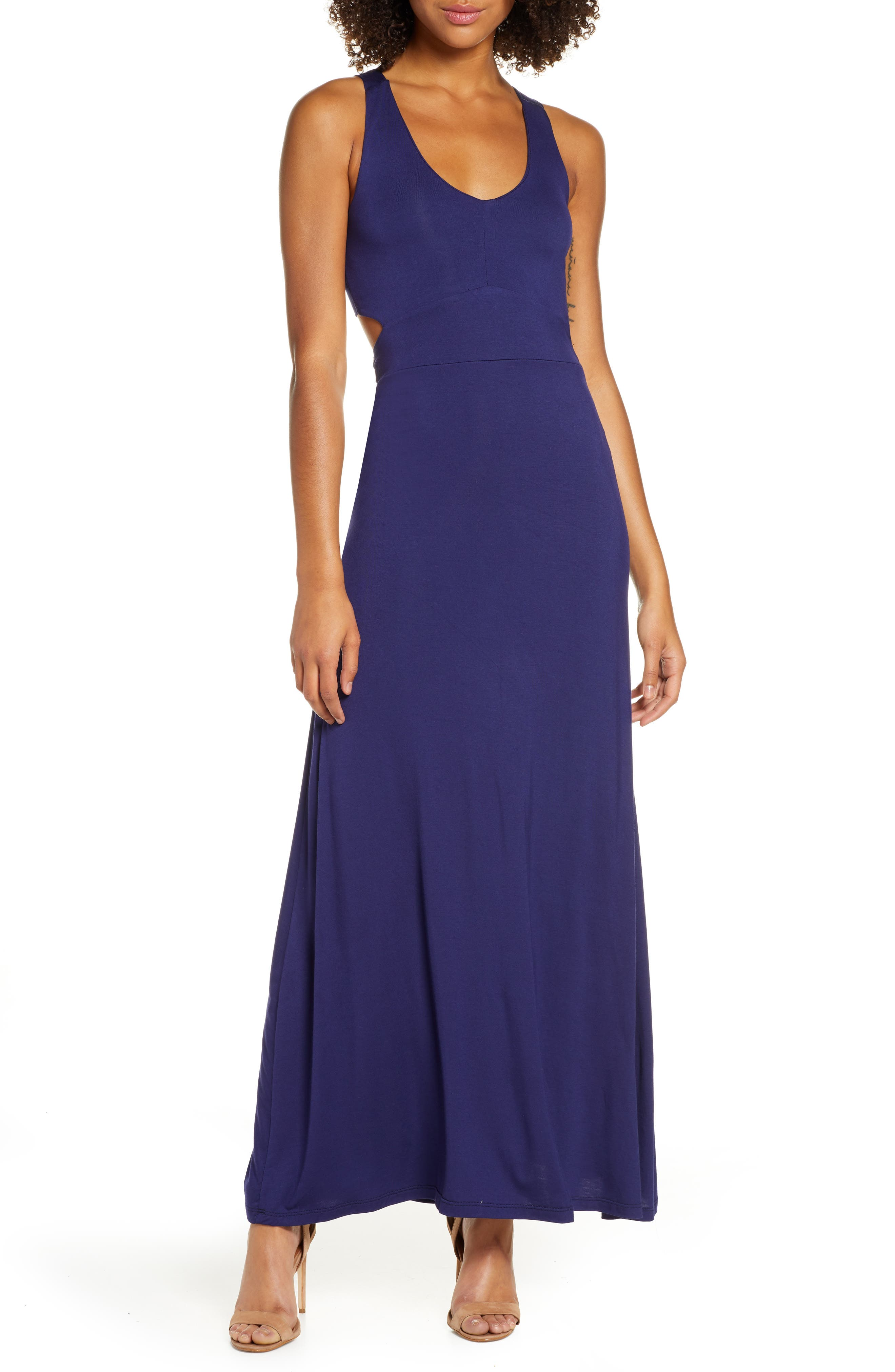 Fraiche By J Open Back Maxi Dress, Regular - Blue