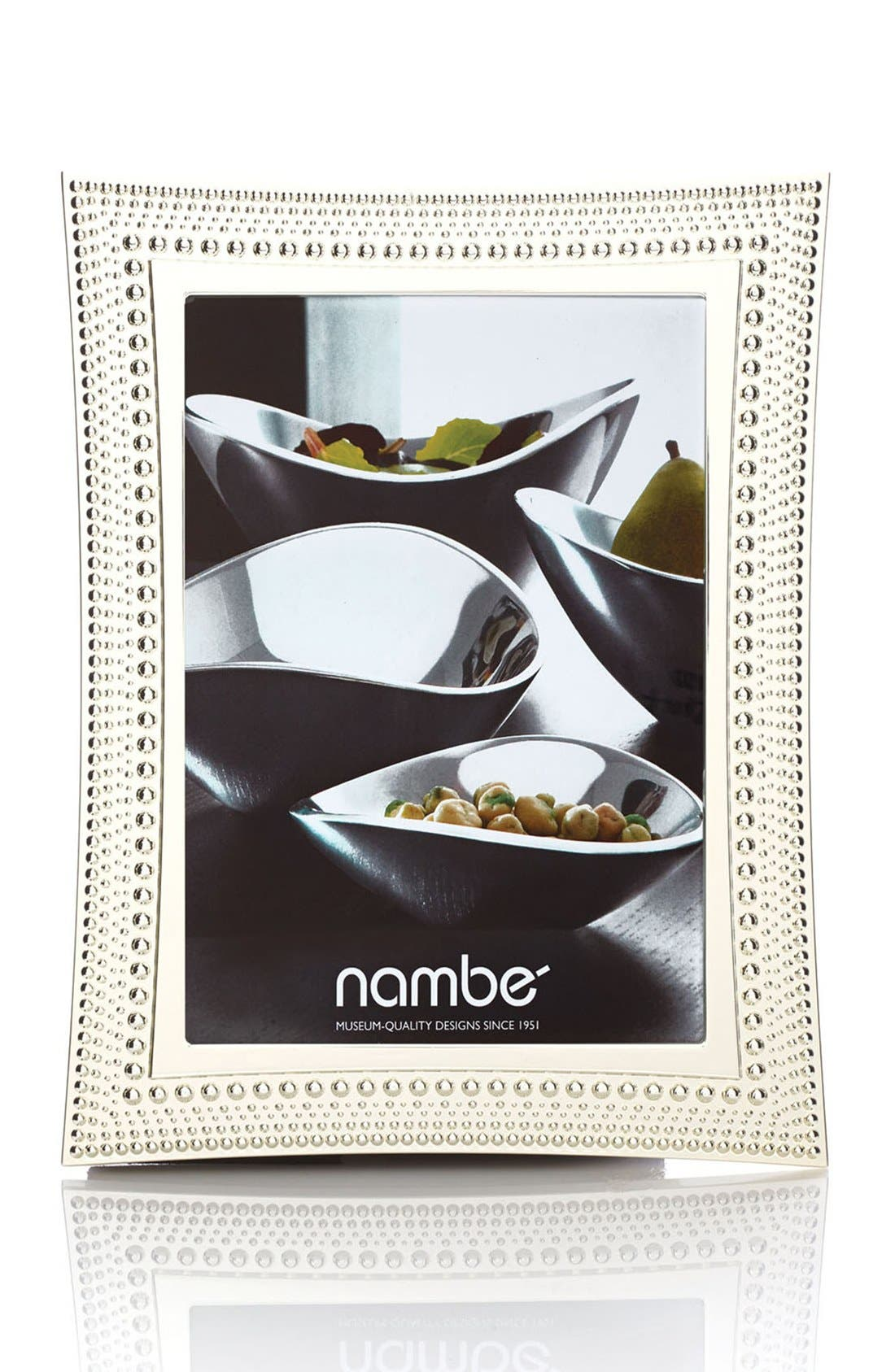 NAMBÉ, Beaded Picture Frame, Alternate thumbnail 3, color, SILVER
