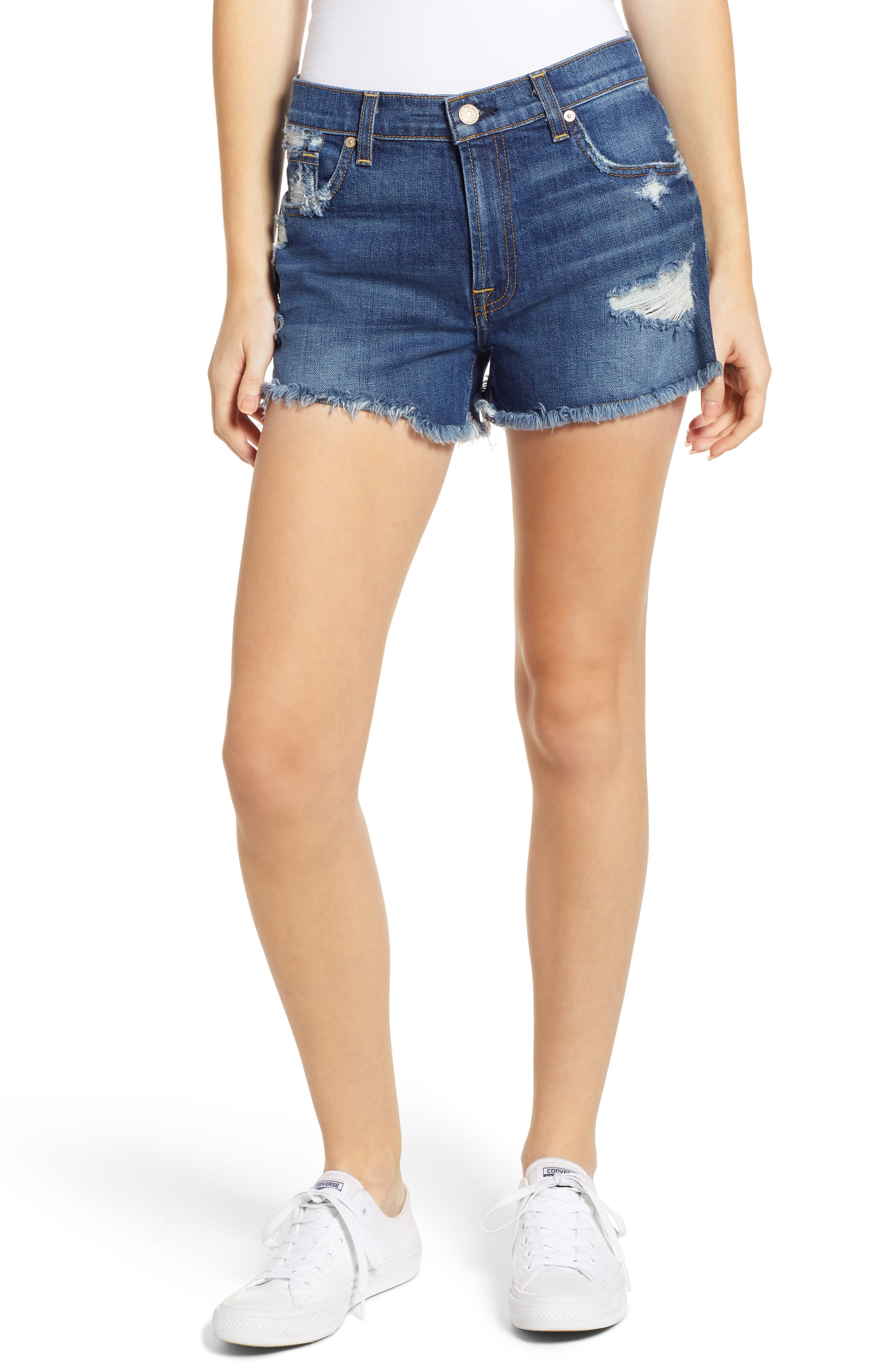 7 FOR ALL MANKIND<SUP>®</SUP>, High Waist Destroyed Cutoff Denim Shorts, Main thumbnail 1, color, BLUE MONDAY