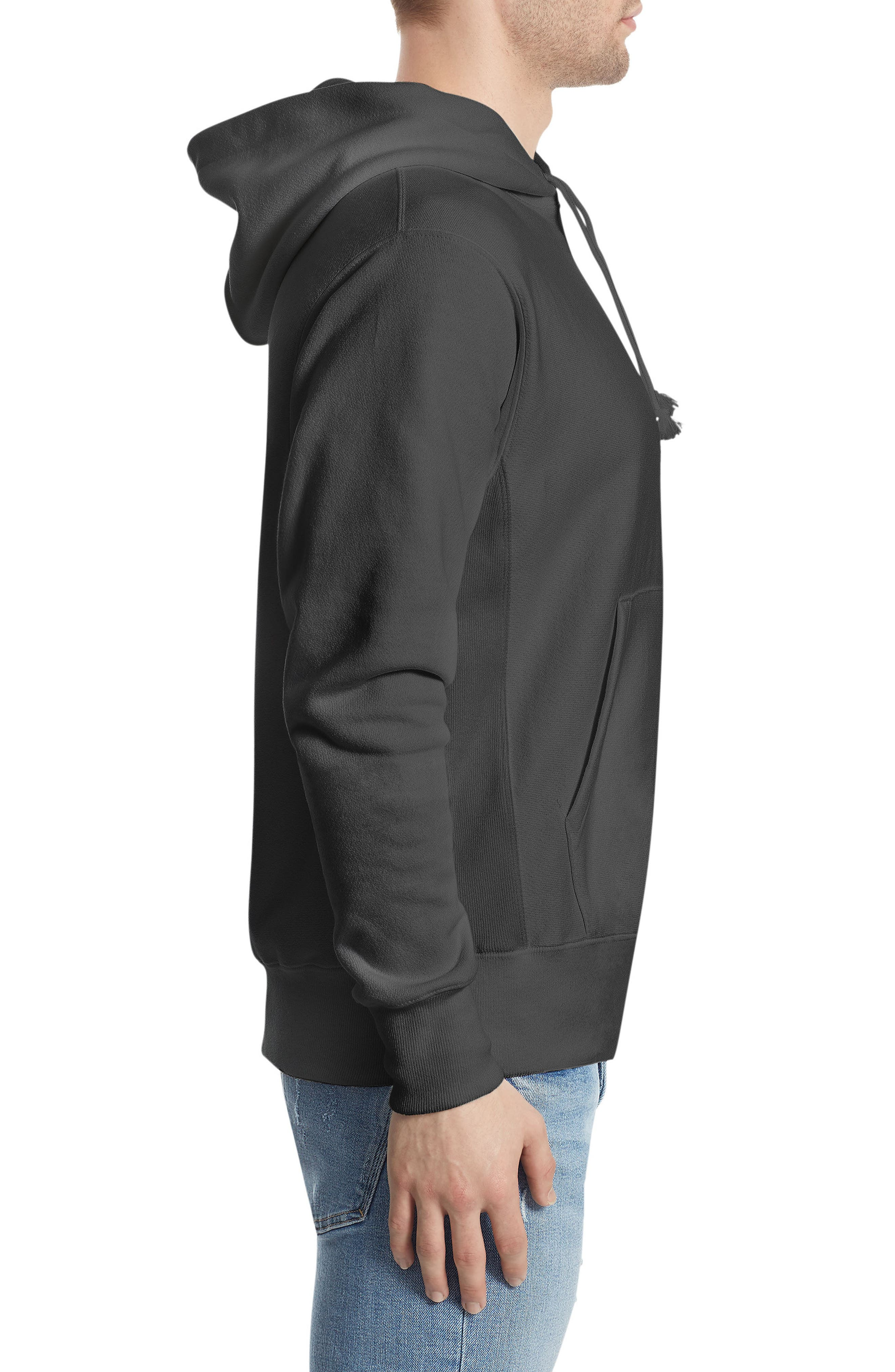 CHAMPION, Reverse Weave<sup>®</sup> Pullover Hoodie, Alternate thumbnail 3, color, BLACK