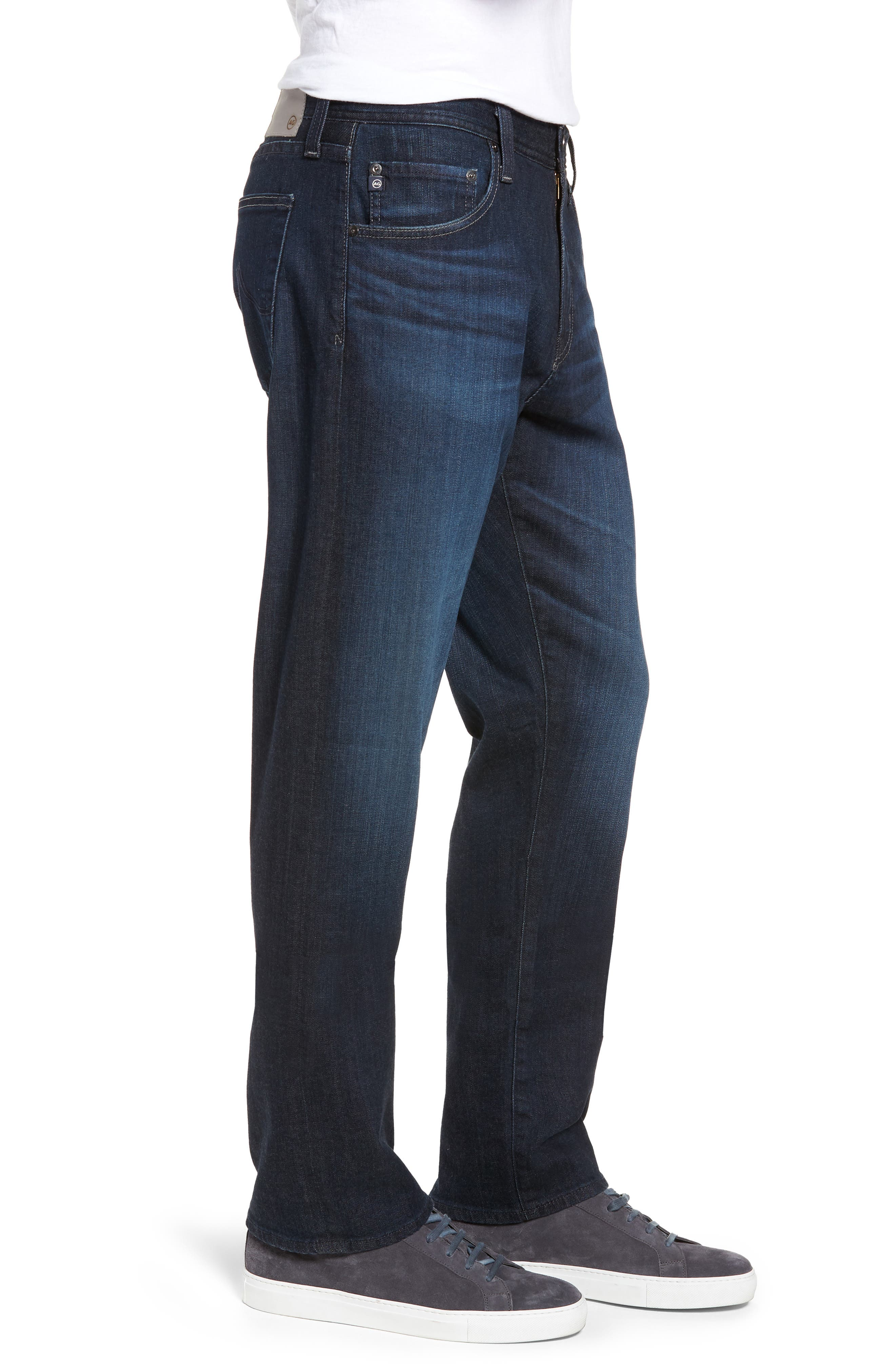 AG, Ives Straight Fit Jeans, Alternate thumbnail 4, color, PATTERSON