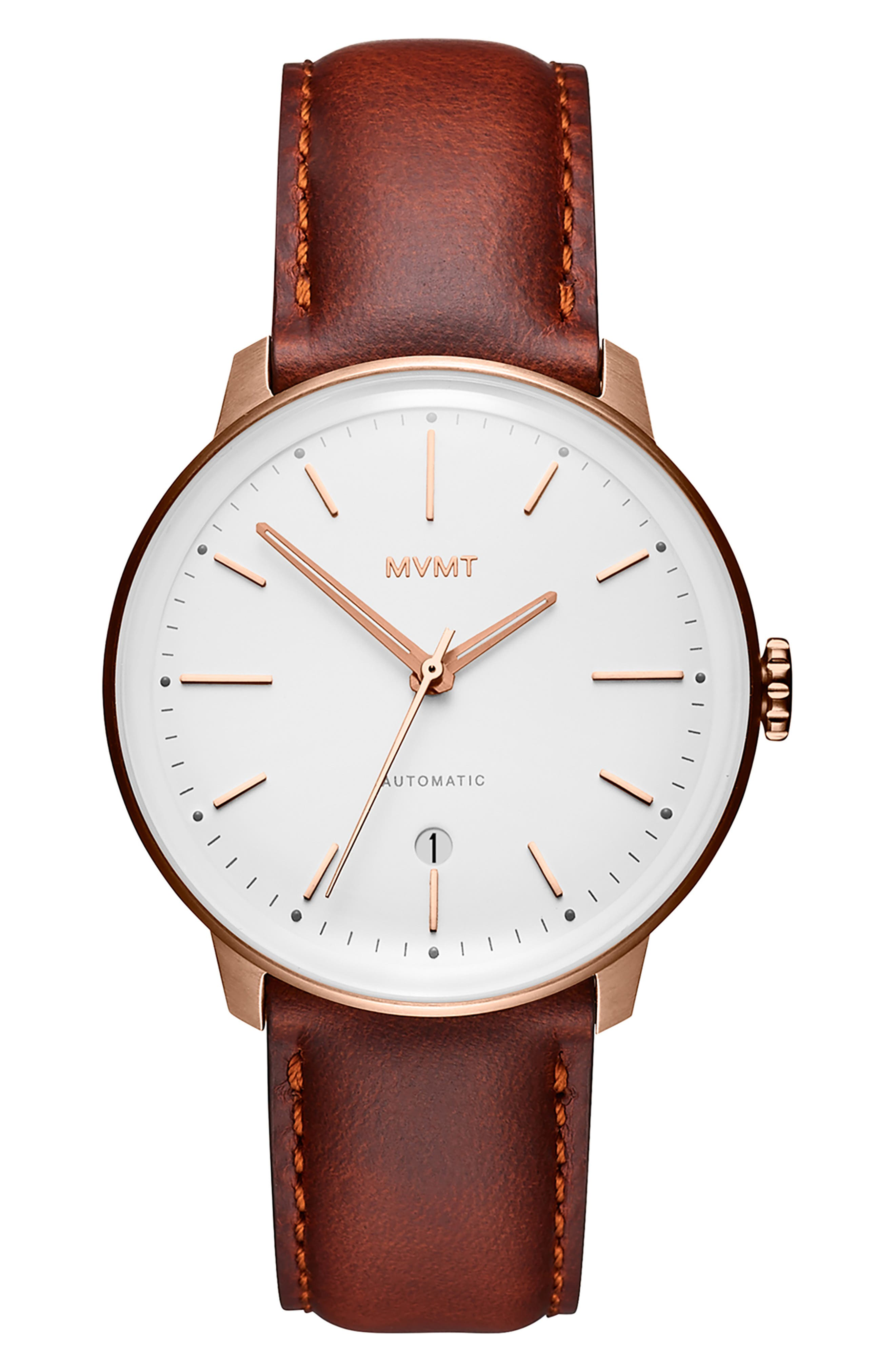 MVMT, Arc Automatic Leather Strap Watch, Alternate thumbnail 4, color, WHITE/ NATURAL